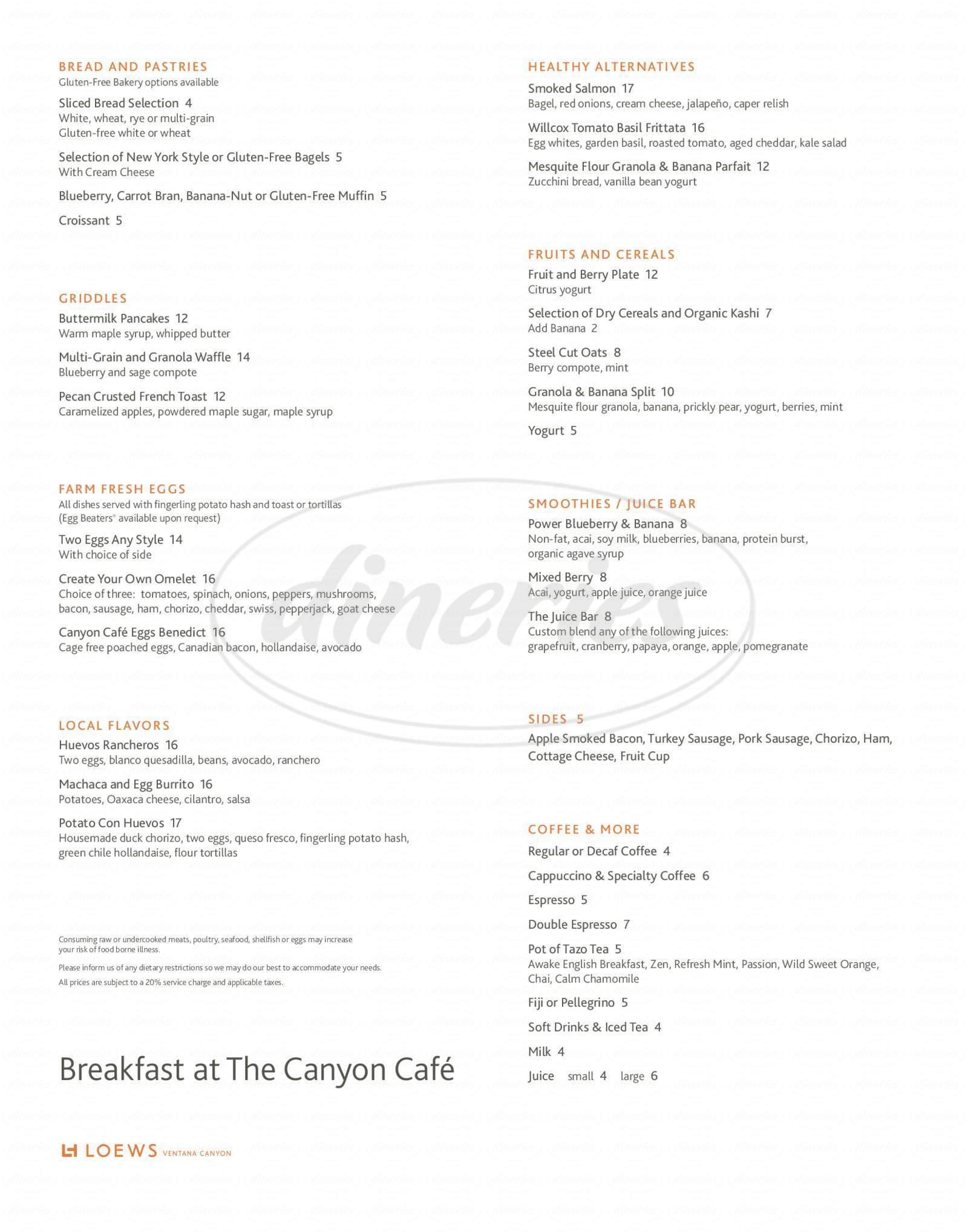 menu for Canyon Cafe