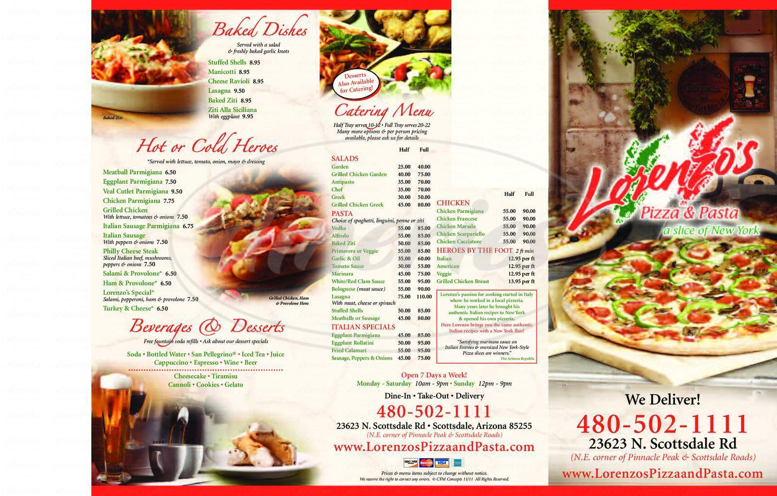 menu for Lorenzo's Pizza and Pasta