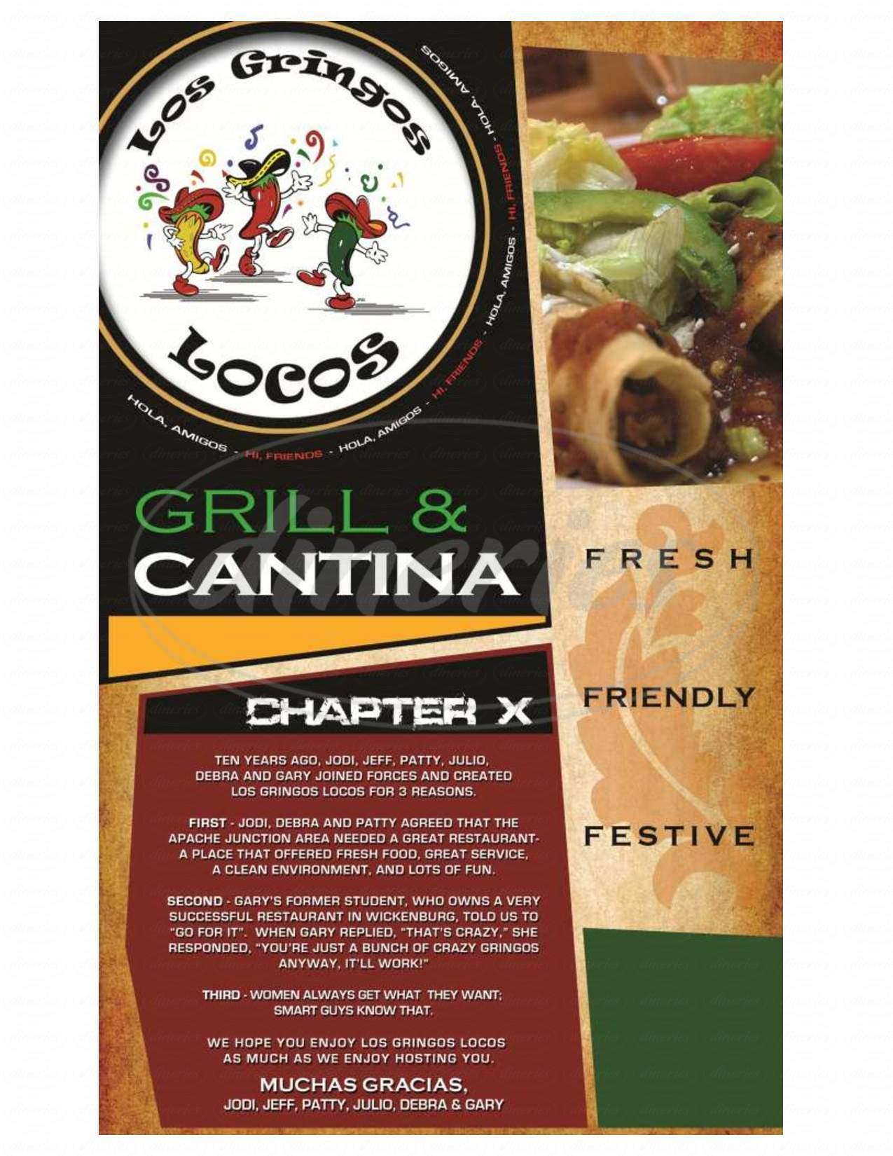menu for Los Gringos Locos Grill & Cantina