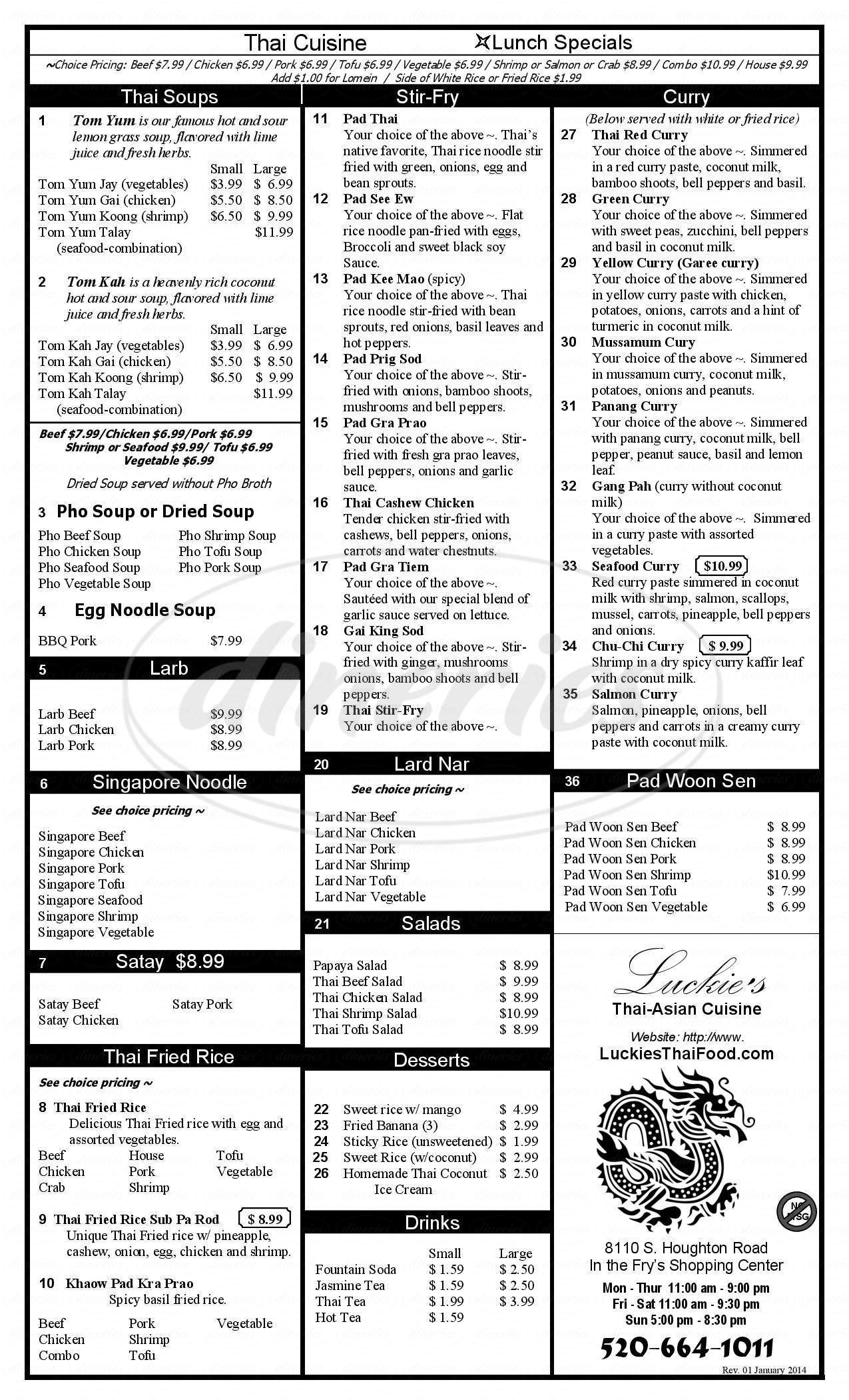 menu for Luckie's Thai-Asian Cuisine