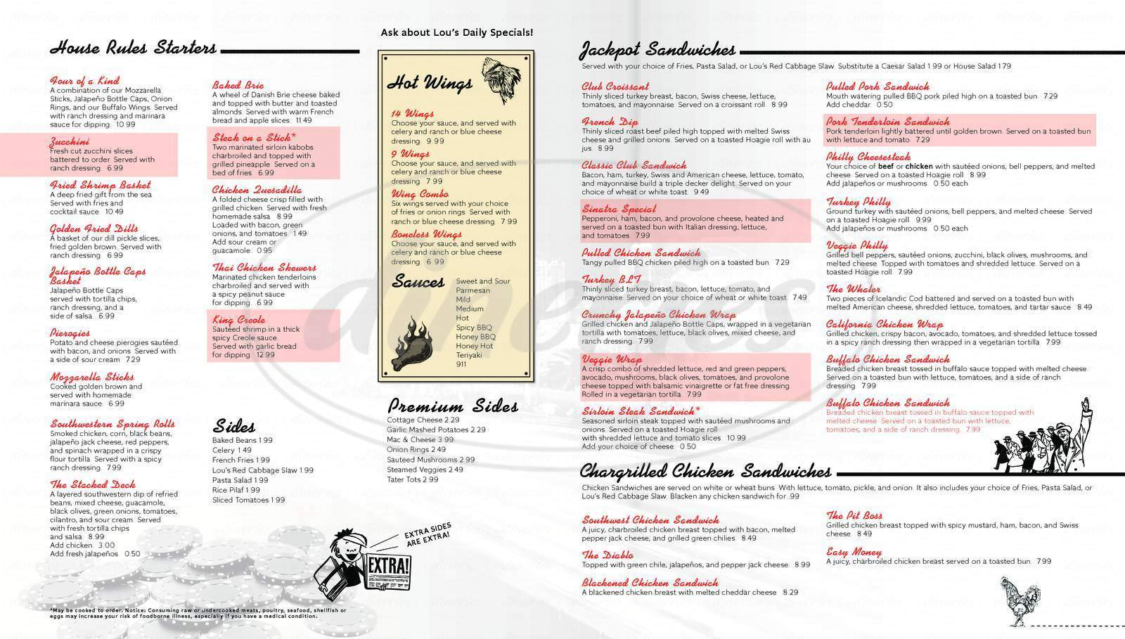 menu for Lucky Lou's