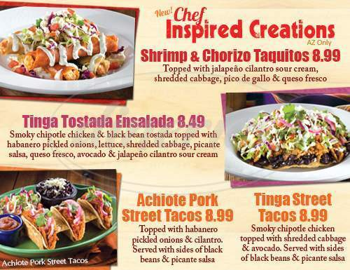 menu for Macayo's Mexican Kitchen