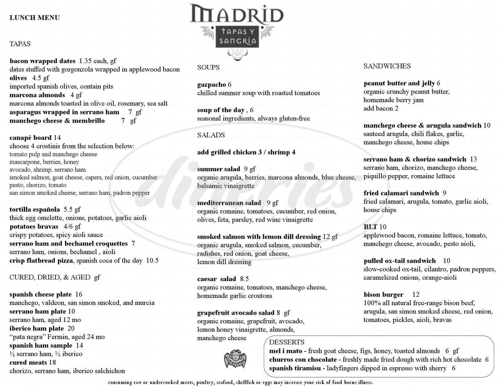 menu for Madrid Tapas Y Sangria