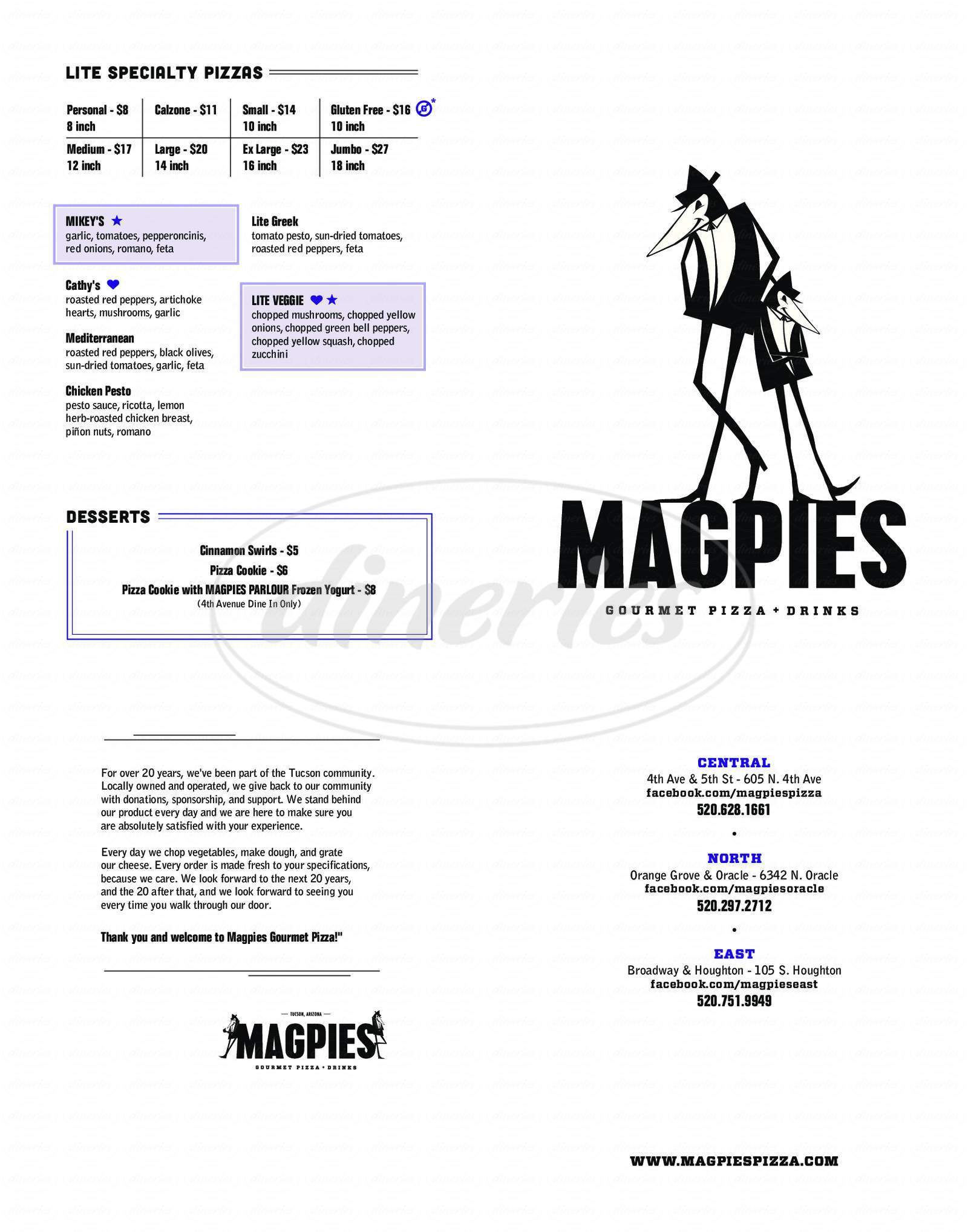 menu for Magpies Gourmet Pizza