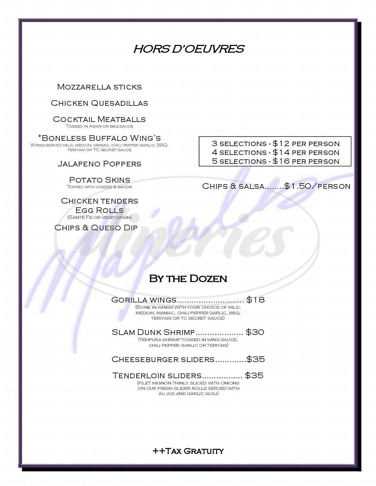 menu for Majerle's Sports Grill