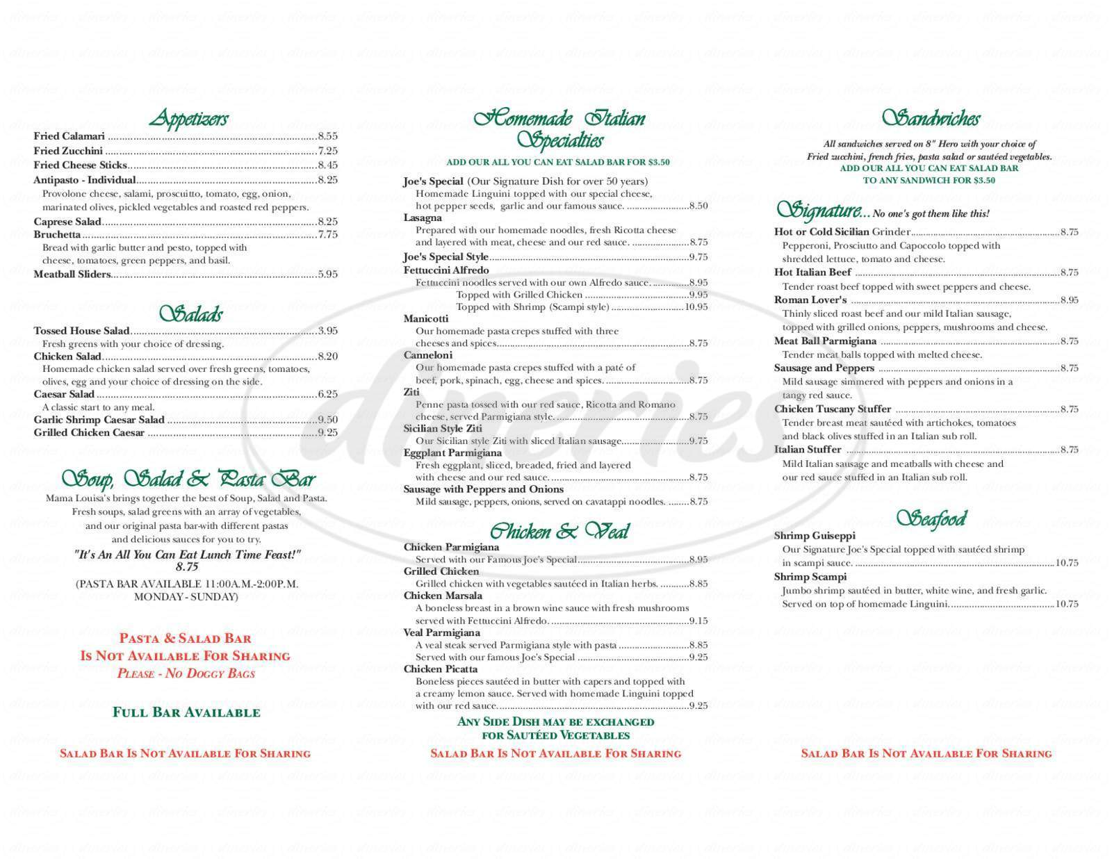 menu for Mama Louisa's Italian Restaurant