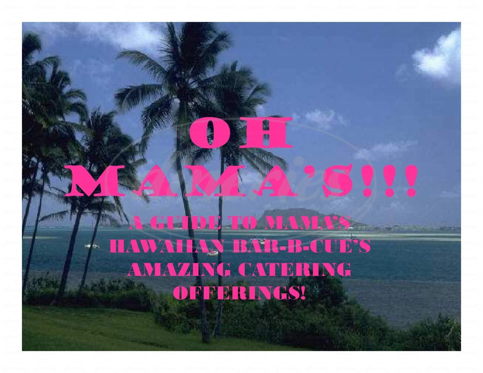 menu for Mama's Hawaiian Bar-B-Cue