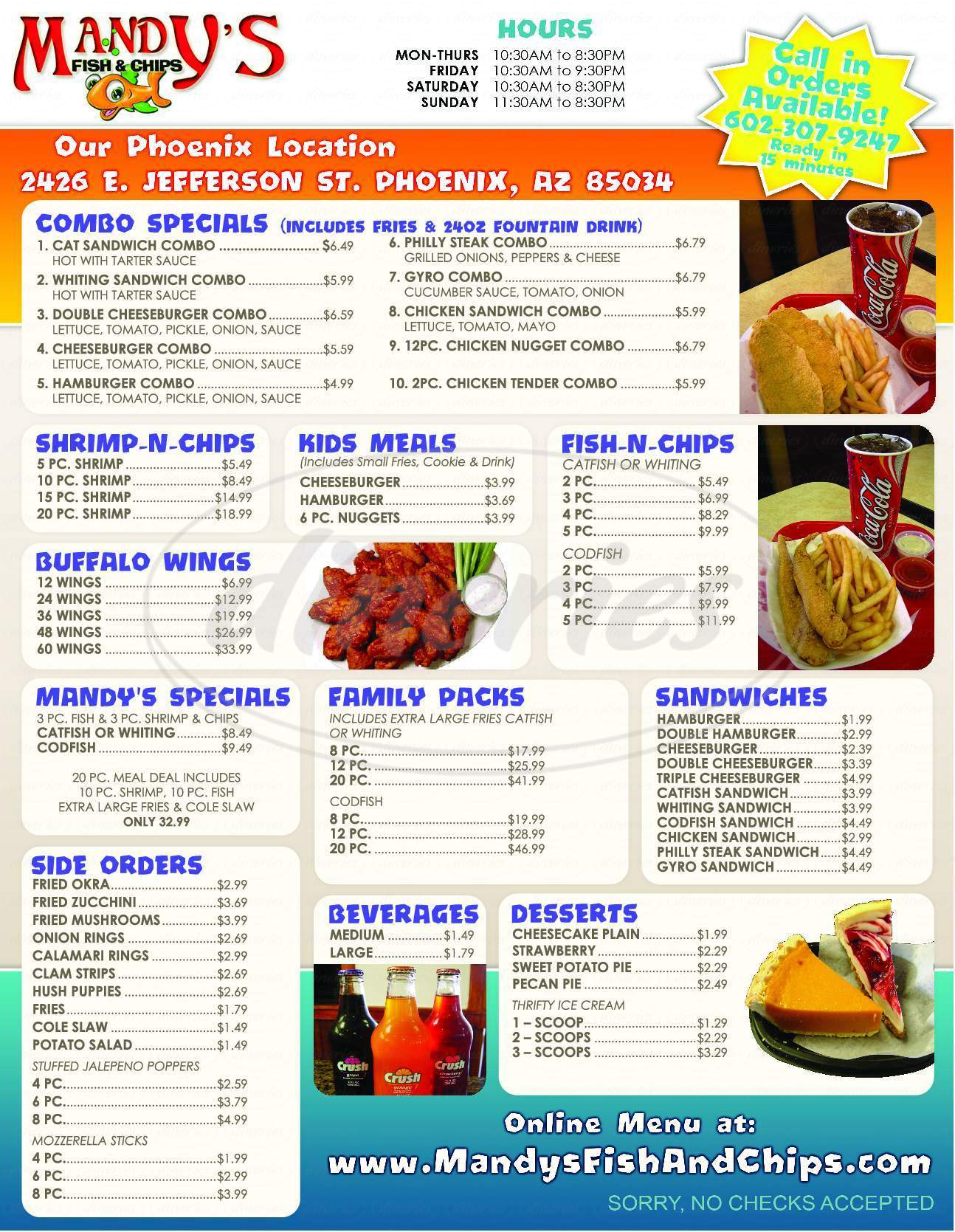 menu for Mandy's Fish & Chips