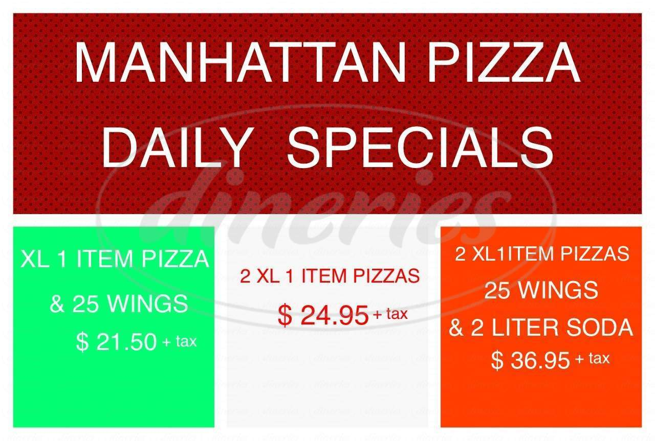 menu for Manhattan Pizza