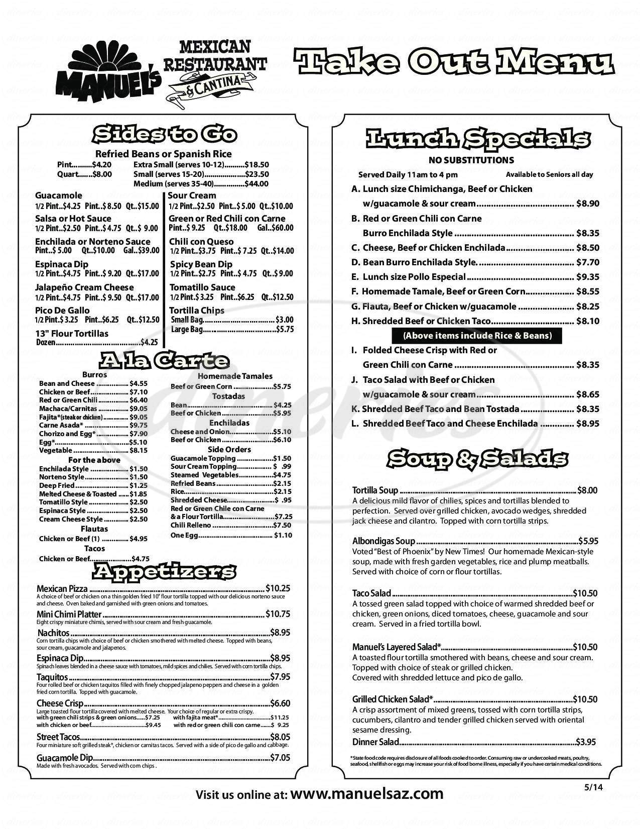 menu for Manuel's Mexican Restaurant