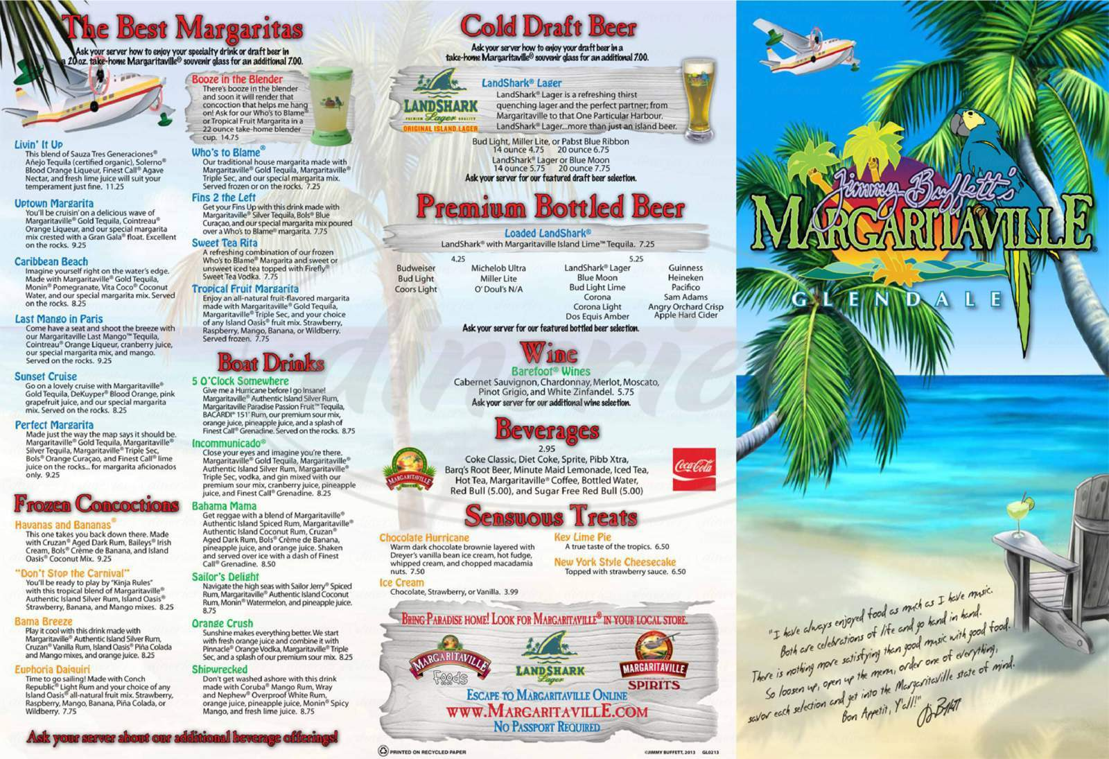 menu for Margaritaville
