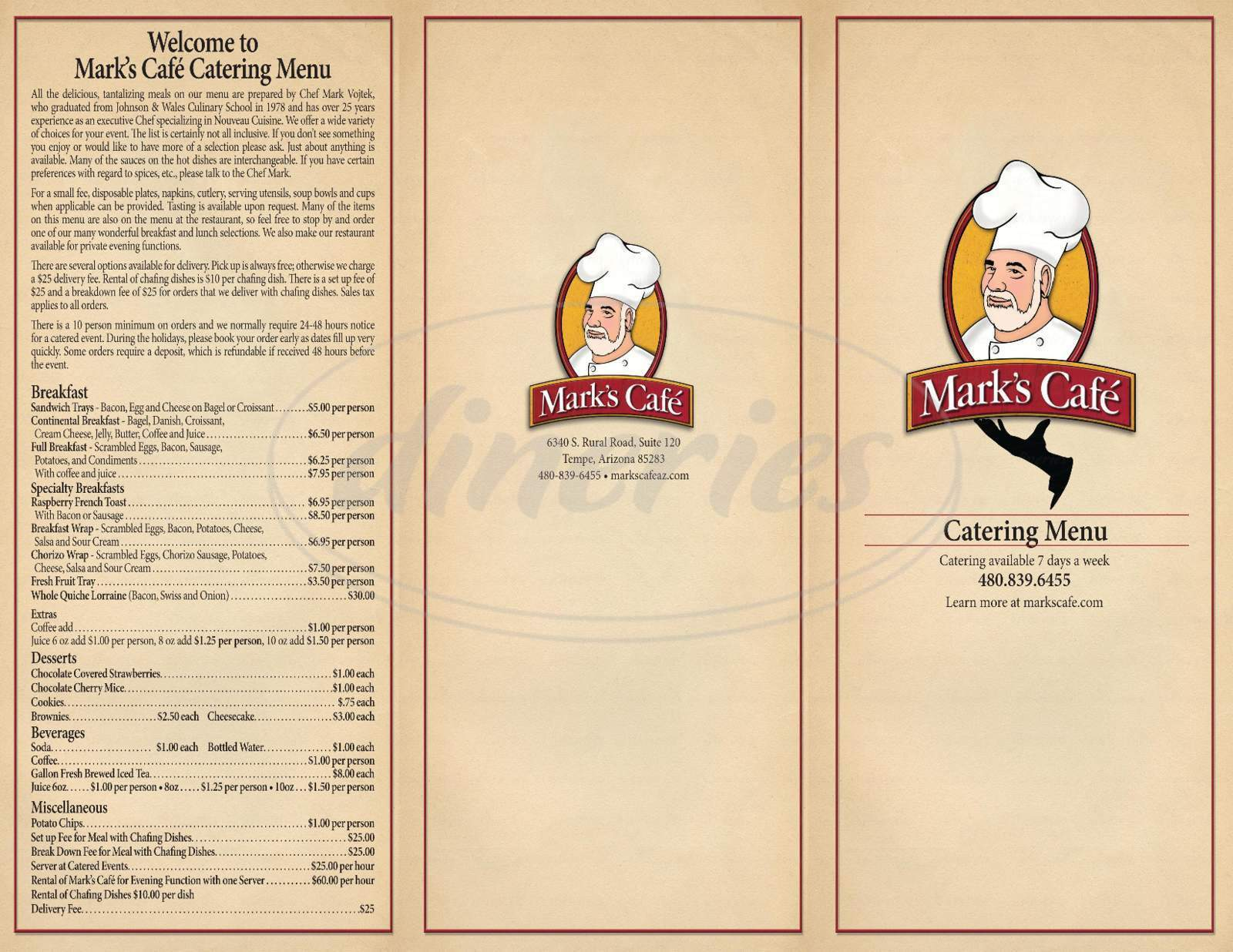 menu for Mark's Cafe