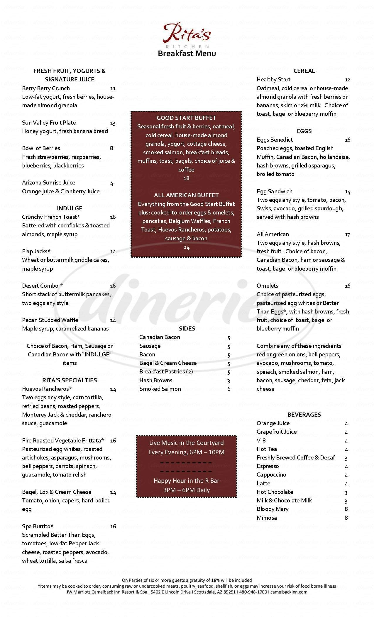 menu for Rita's Kitchen