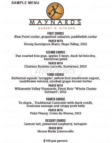 menu for Maynards Market & Kitchen