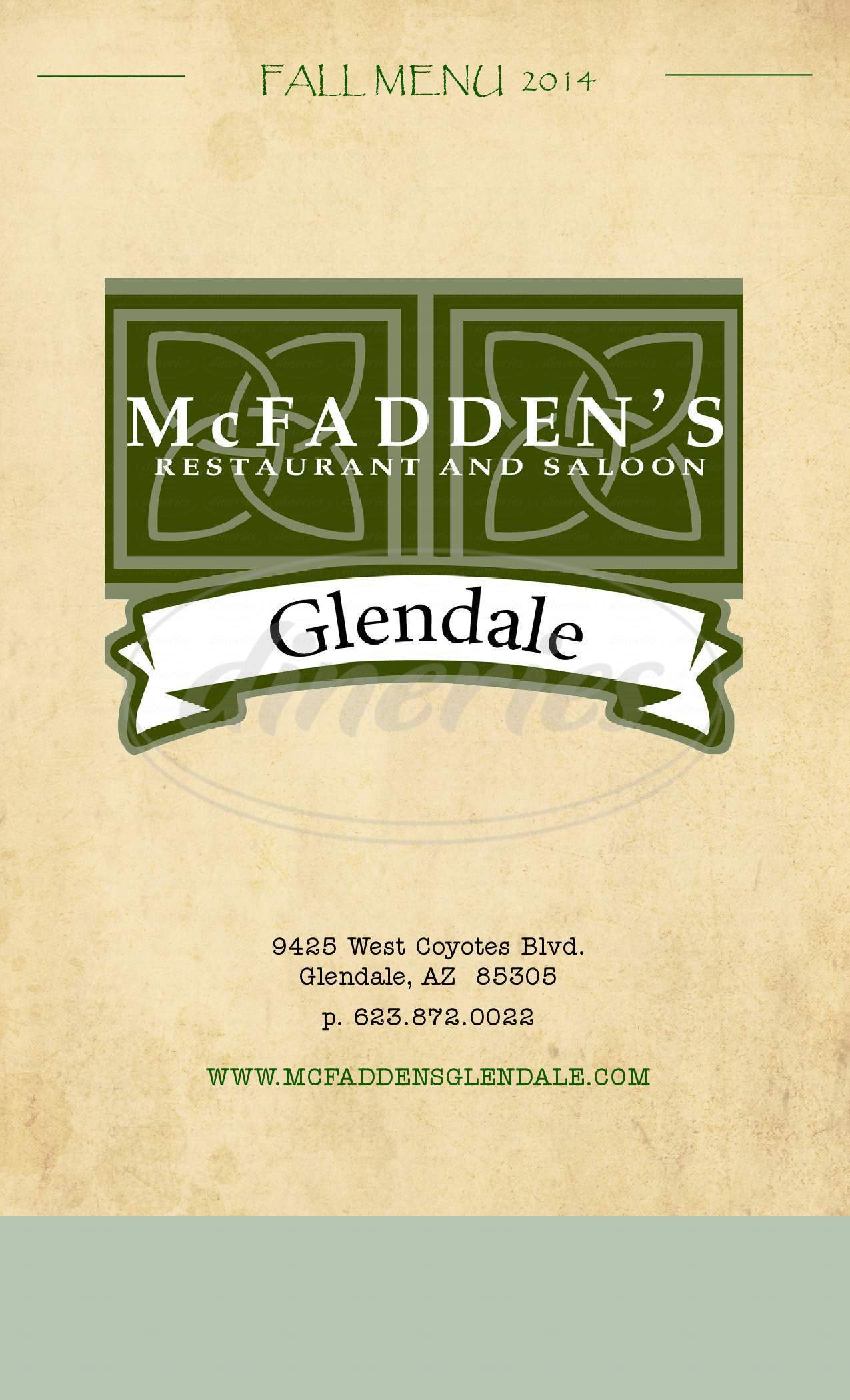 menu for McFadden's Restaurant & Saloon