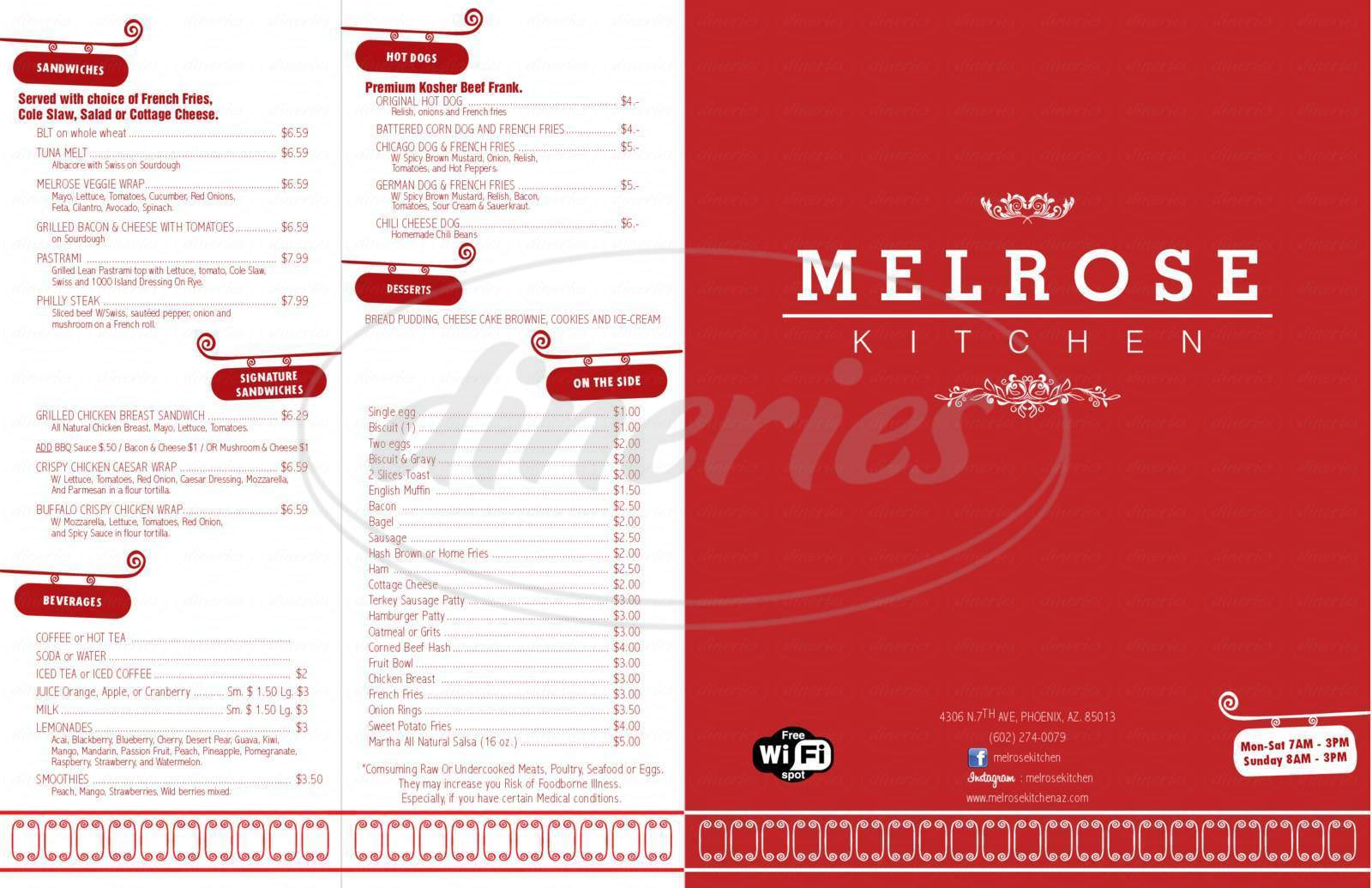 menu for Melrose Kitchen