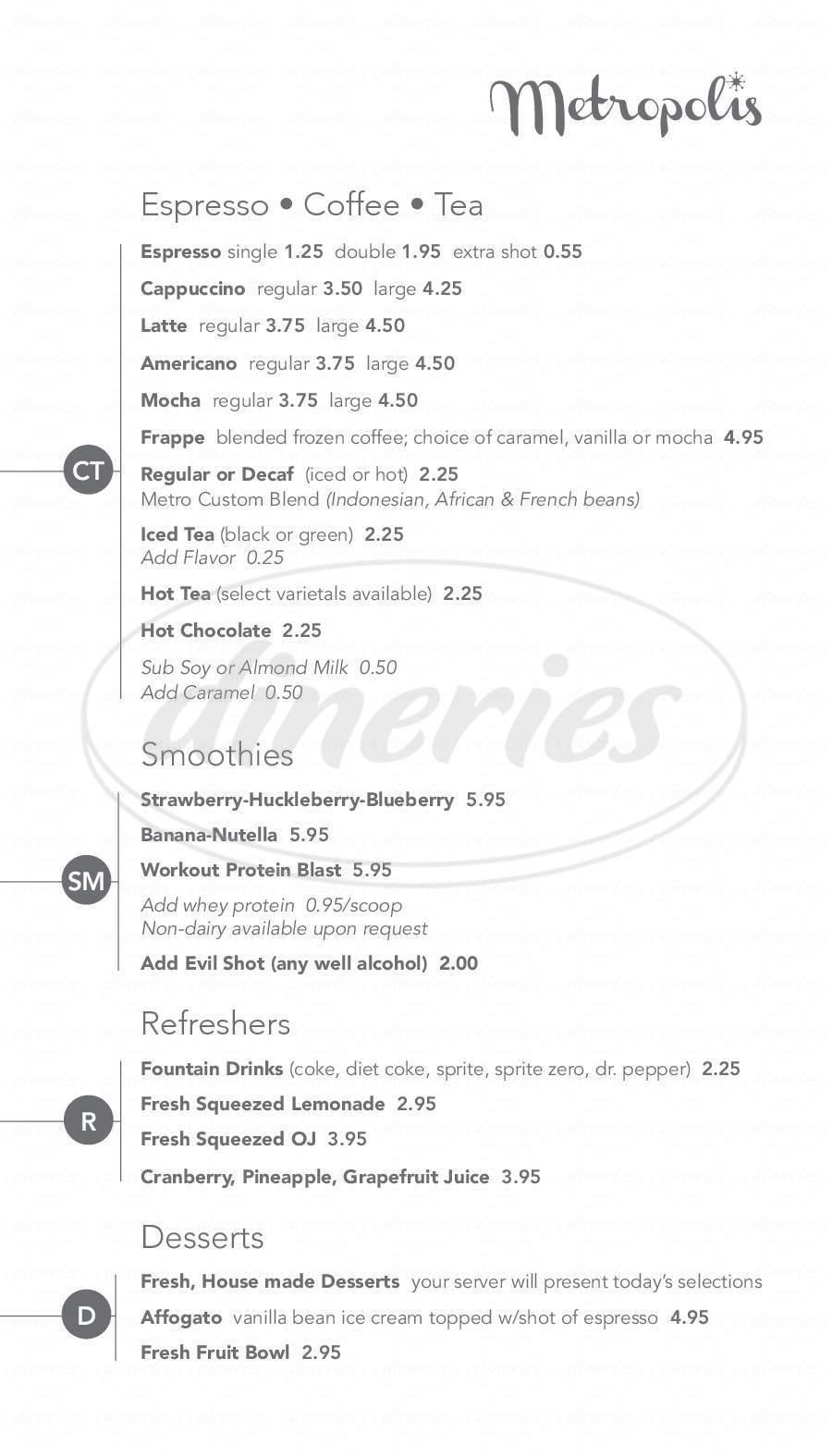 menu for Metropolis