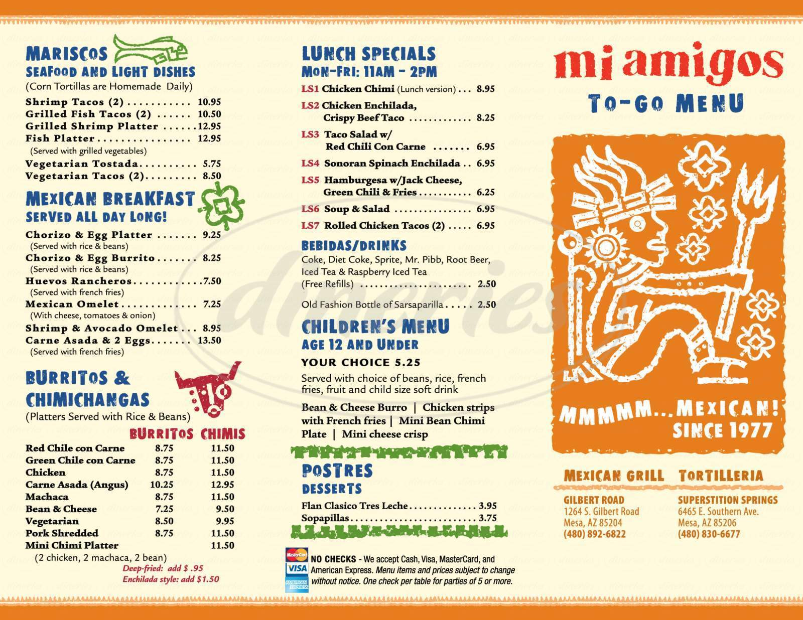 menu for Mi Amigo's Mexican Grill