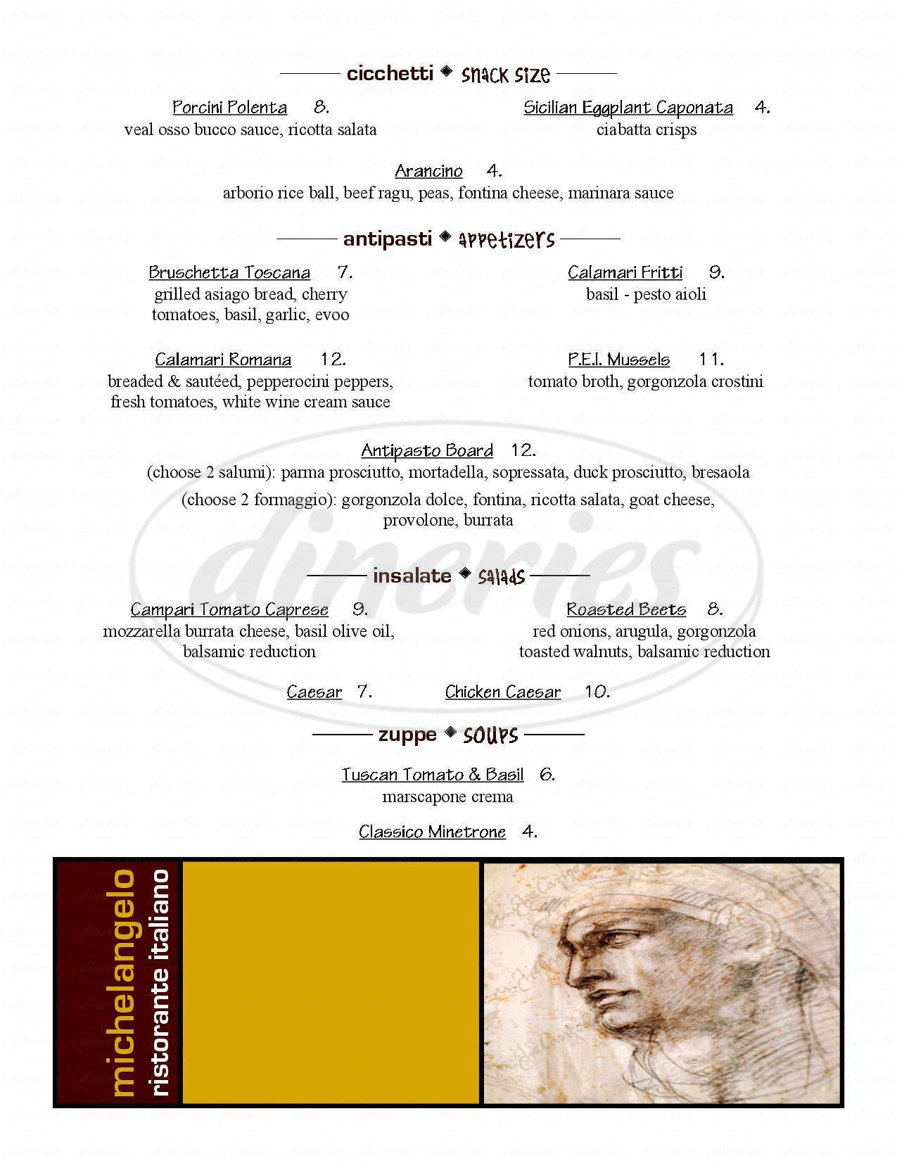 menu for Michelangelo Ristorante Italiano
