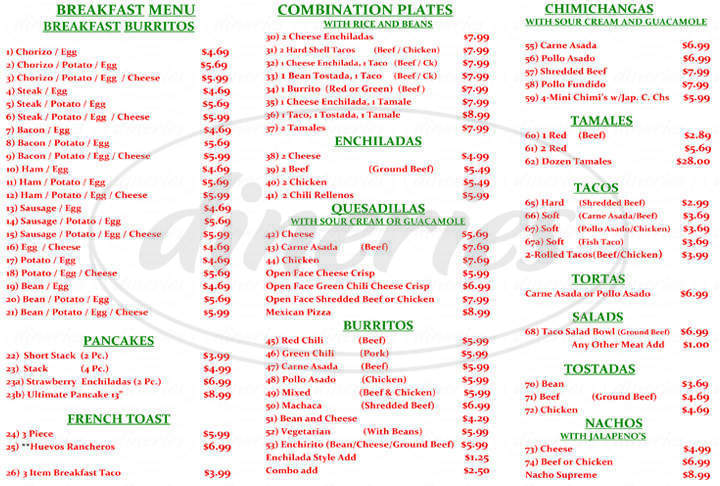 menu for Mi Familia Mexican Food