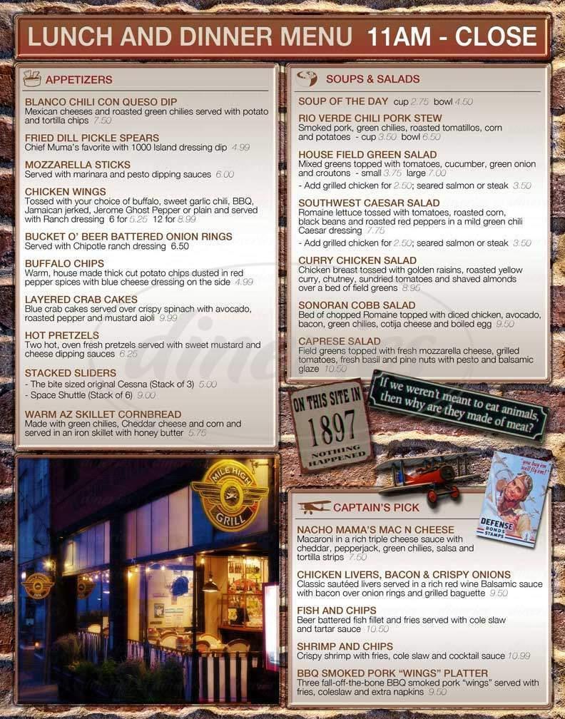 menu for Mile High Grill & Inn