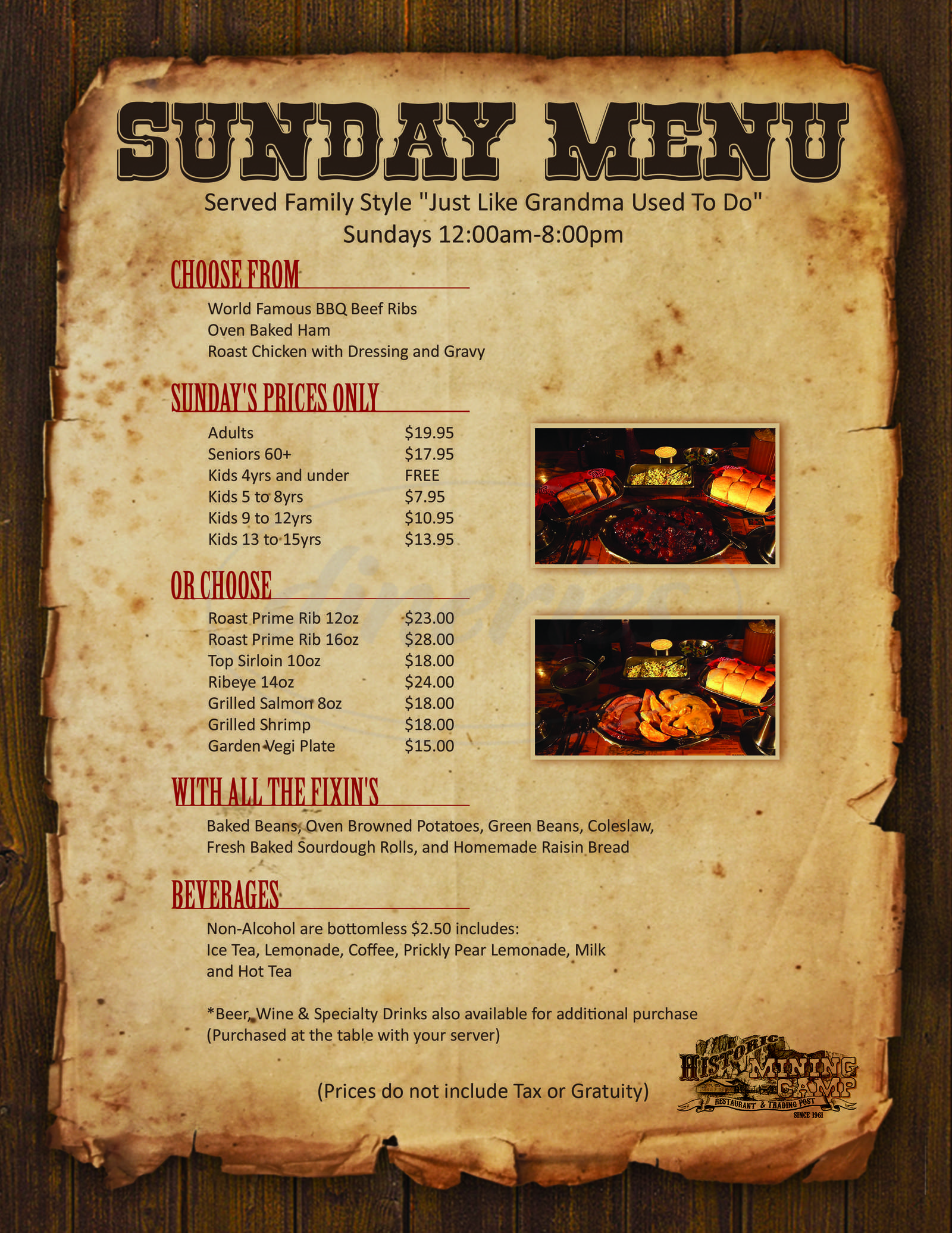 menu for Mining Camp Restaurant