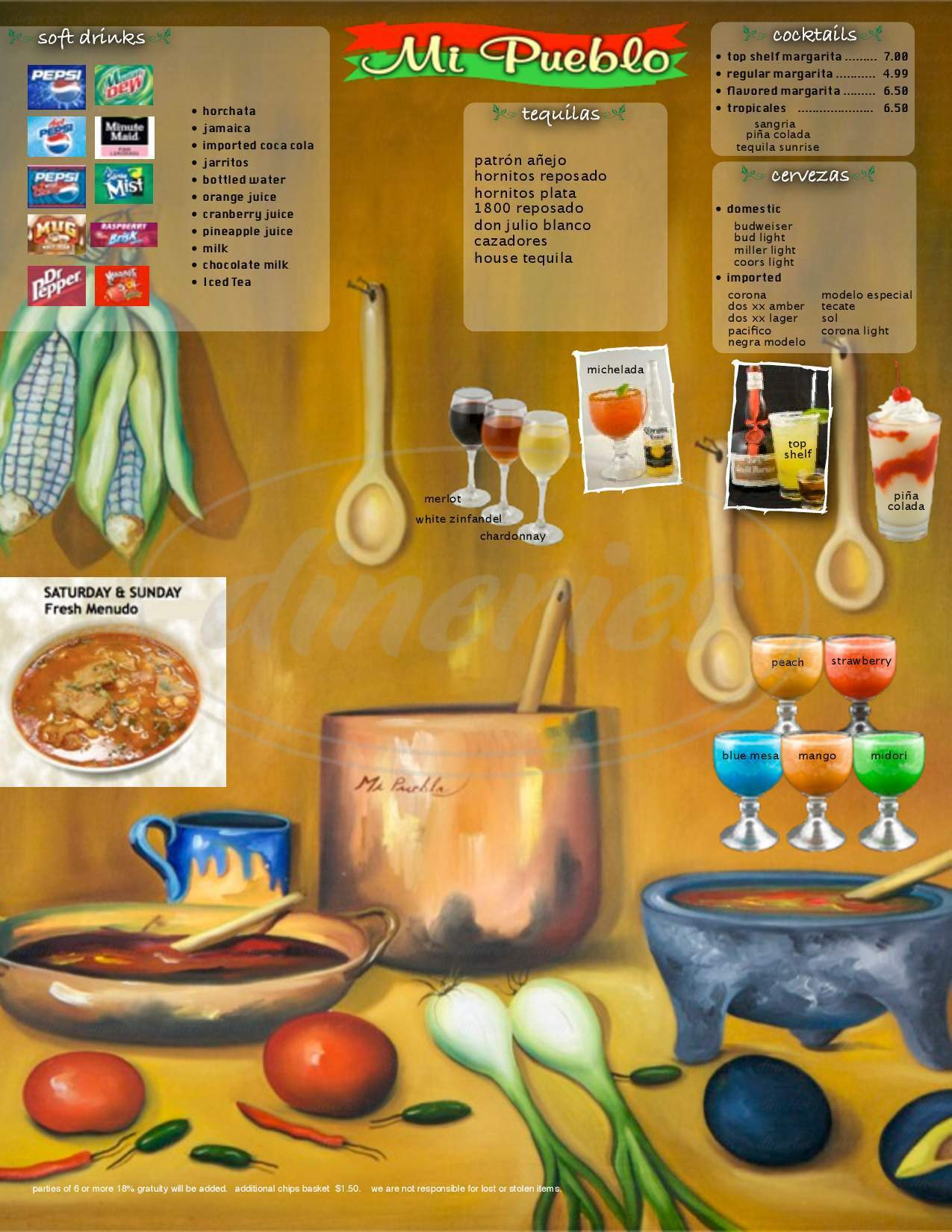 menu for Mi Pueblo