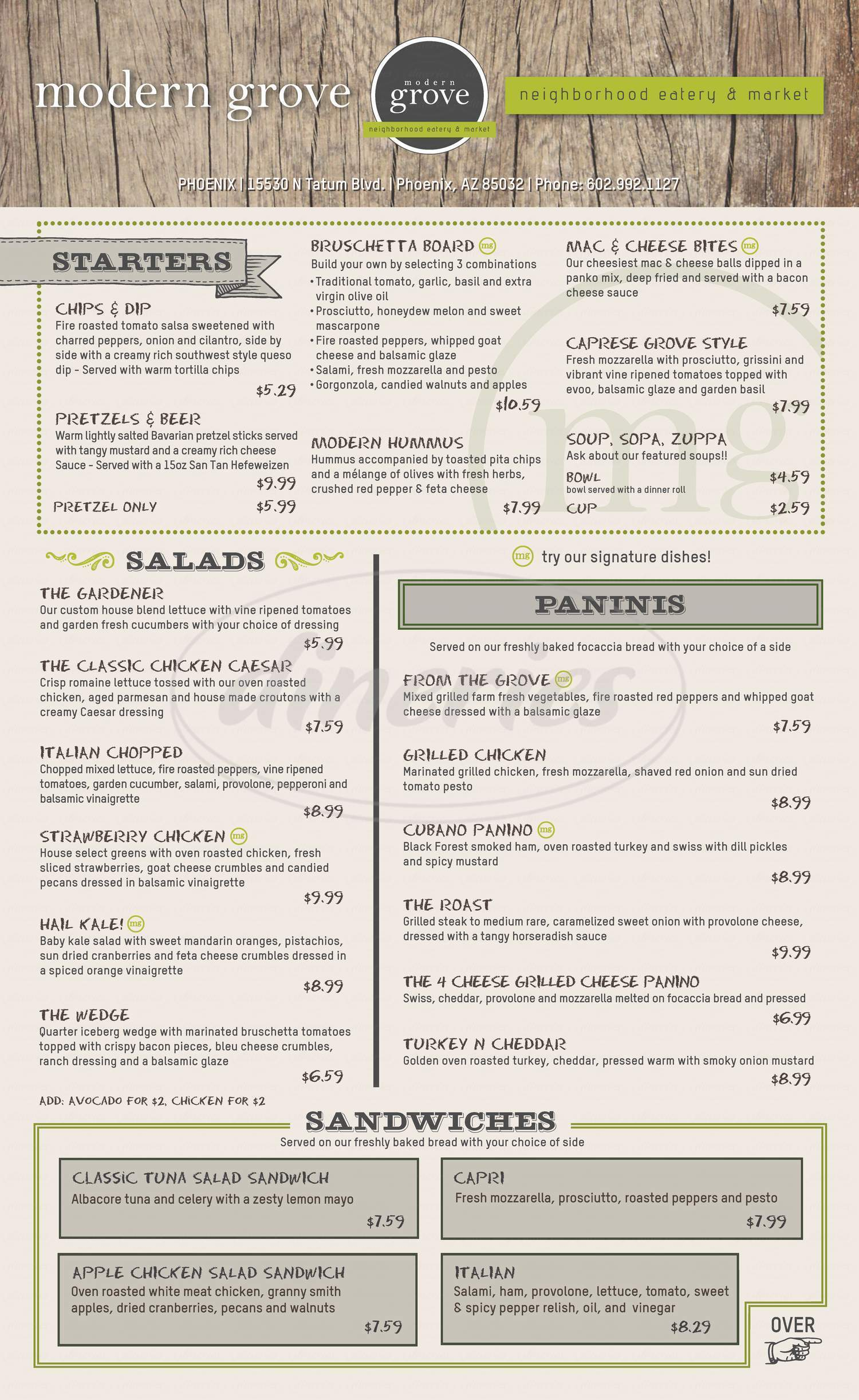 menu for Modern Grove