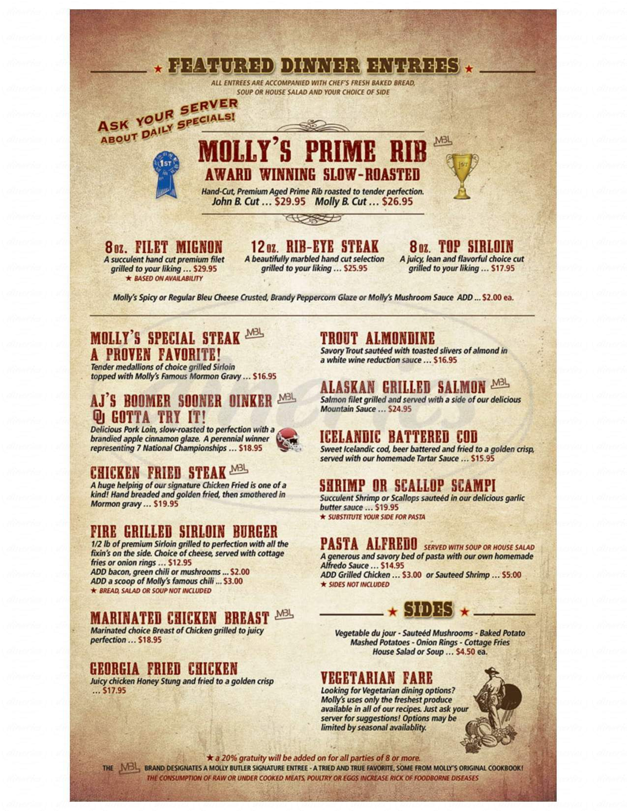 menu for Molly Butler Lodge