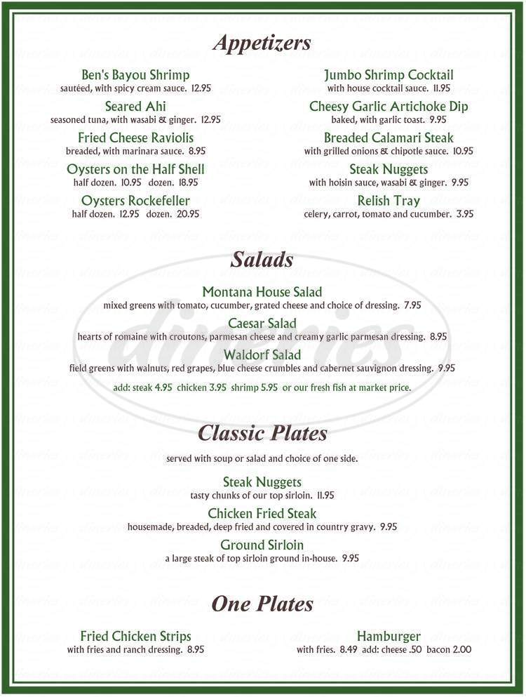 menu for Montana Steak House