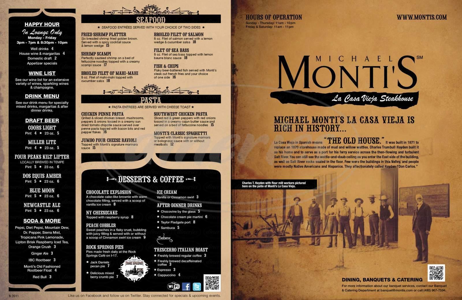 menu for Monti's La Casa Vieja