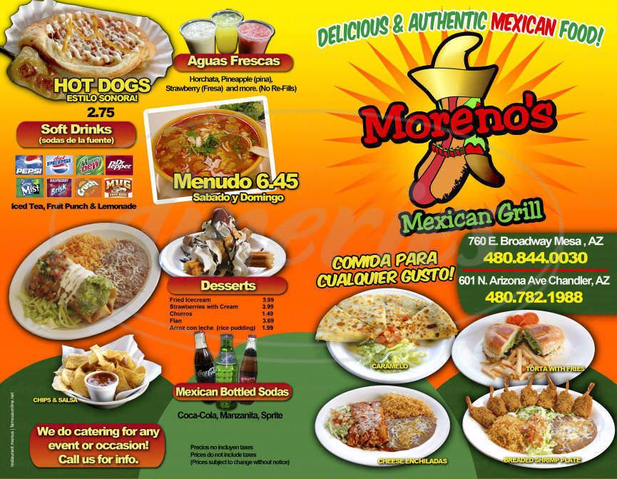 menu for Moreno's Mexican Grill