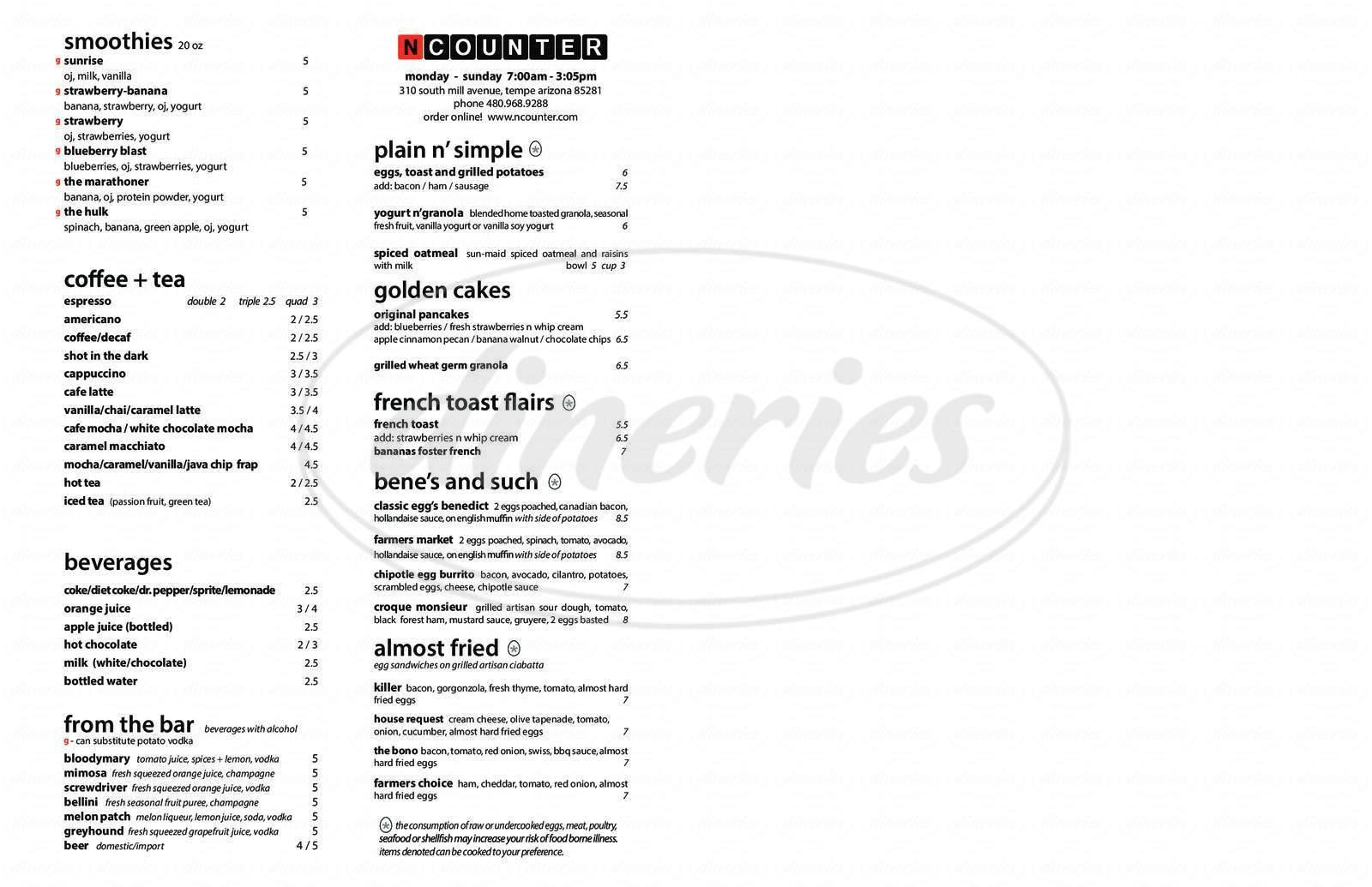 menu for Ncounter