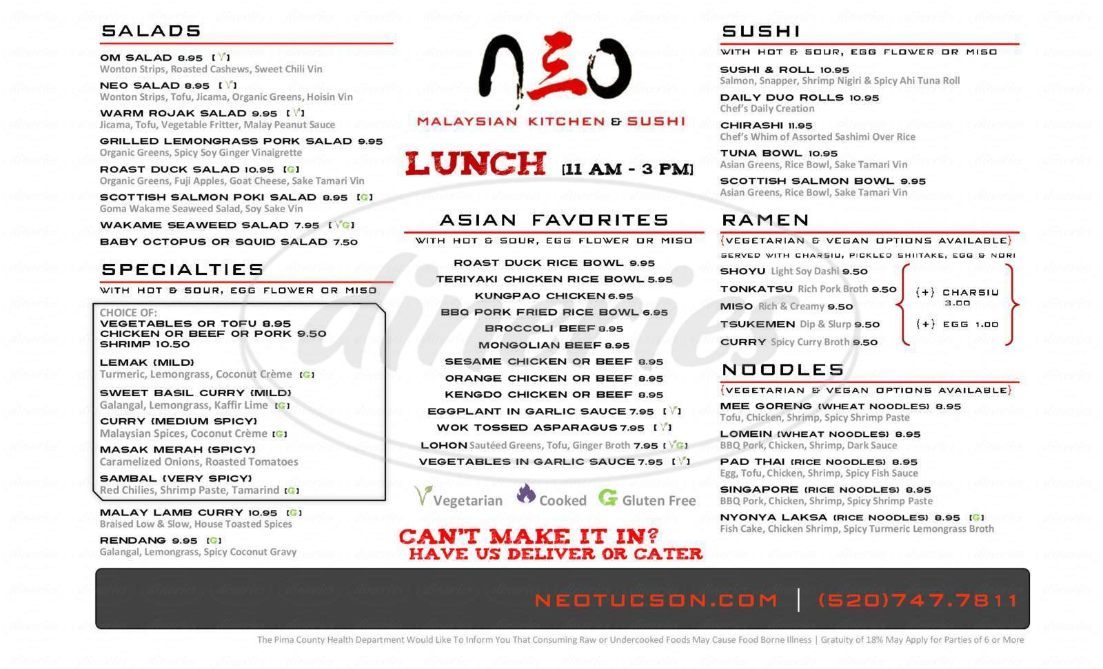 menu for Neo Malaysian Kitchen