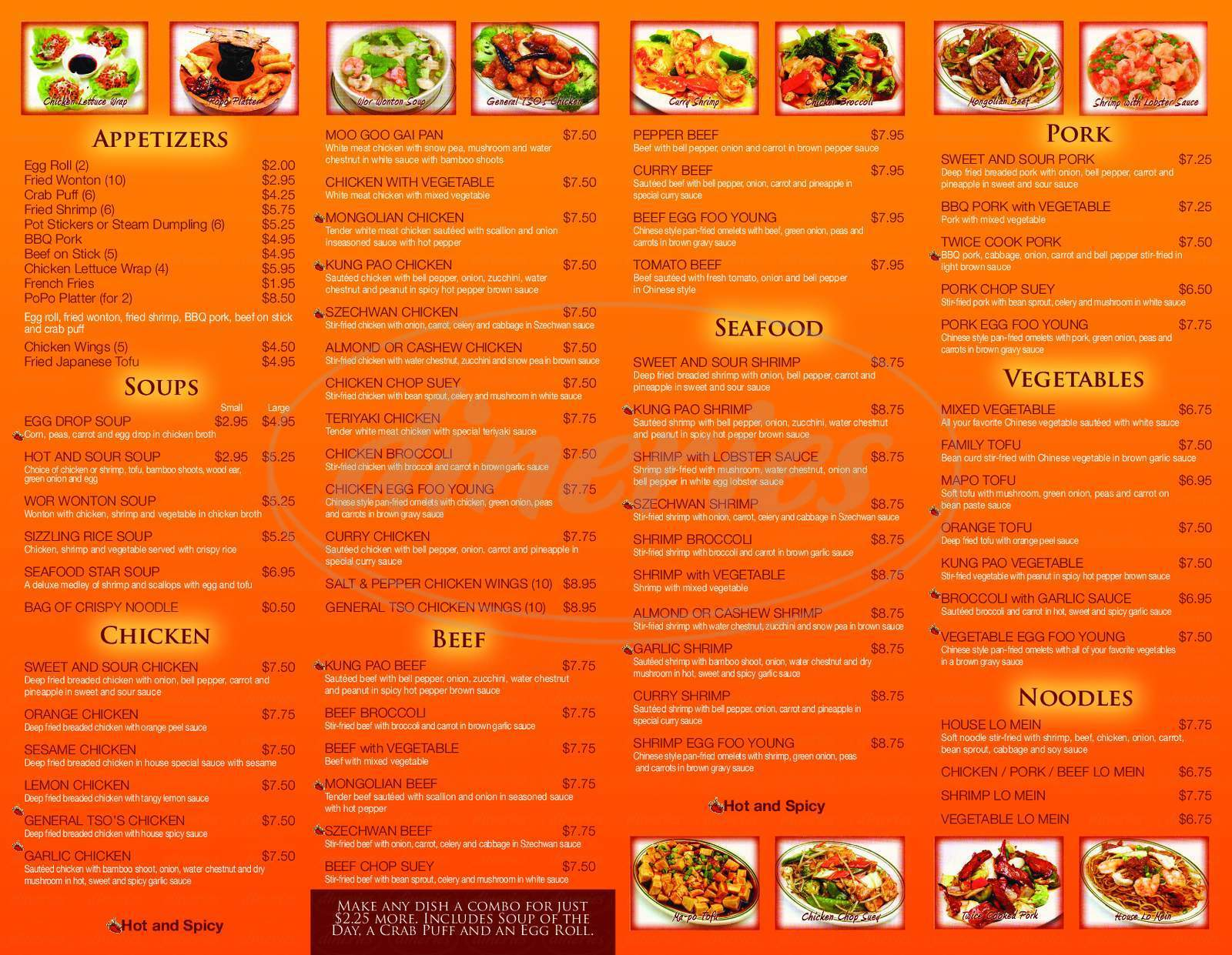 menu for New Asian Star