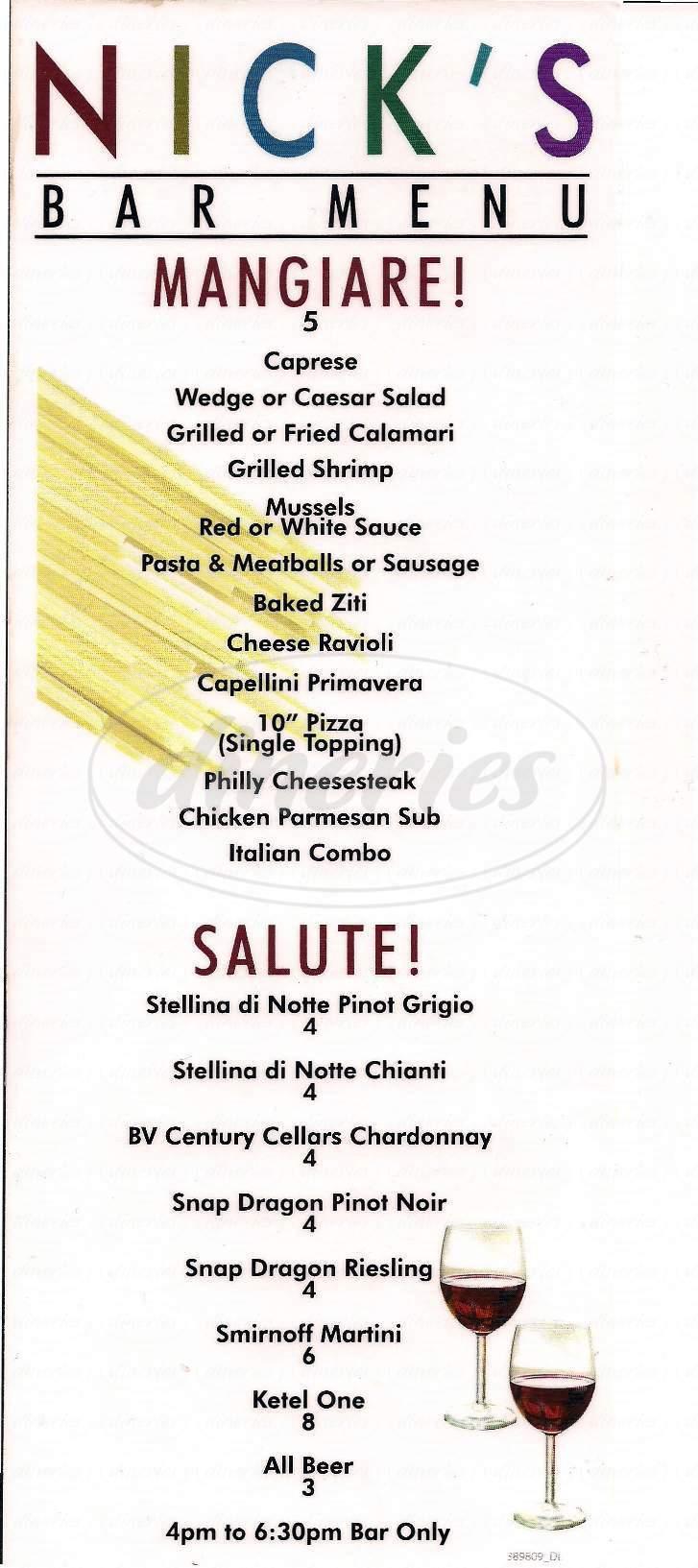 menu for Nick's