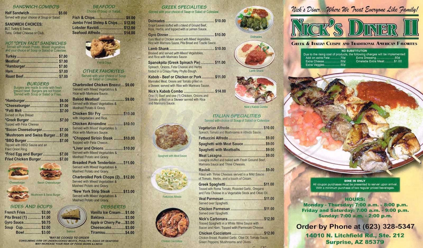 menu for Nick's Diner II, LLC
