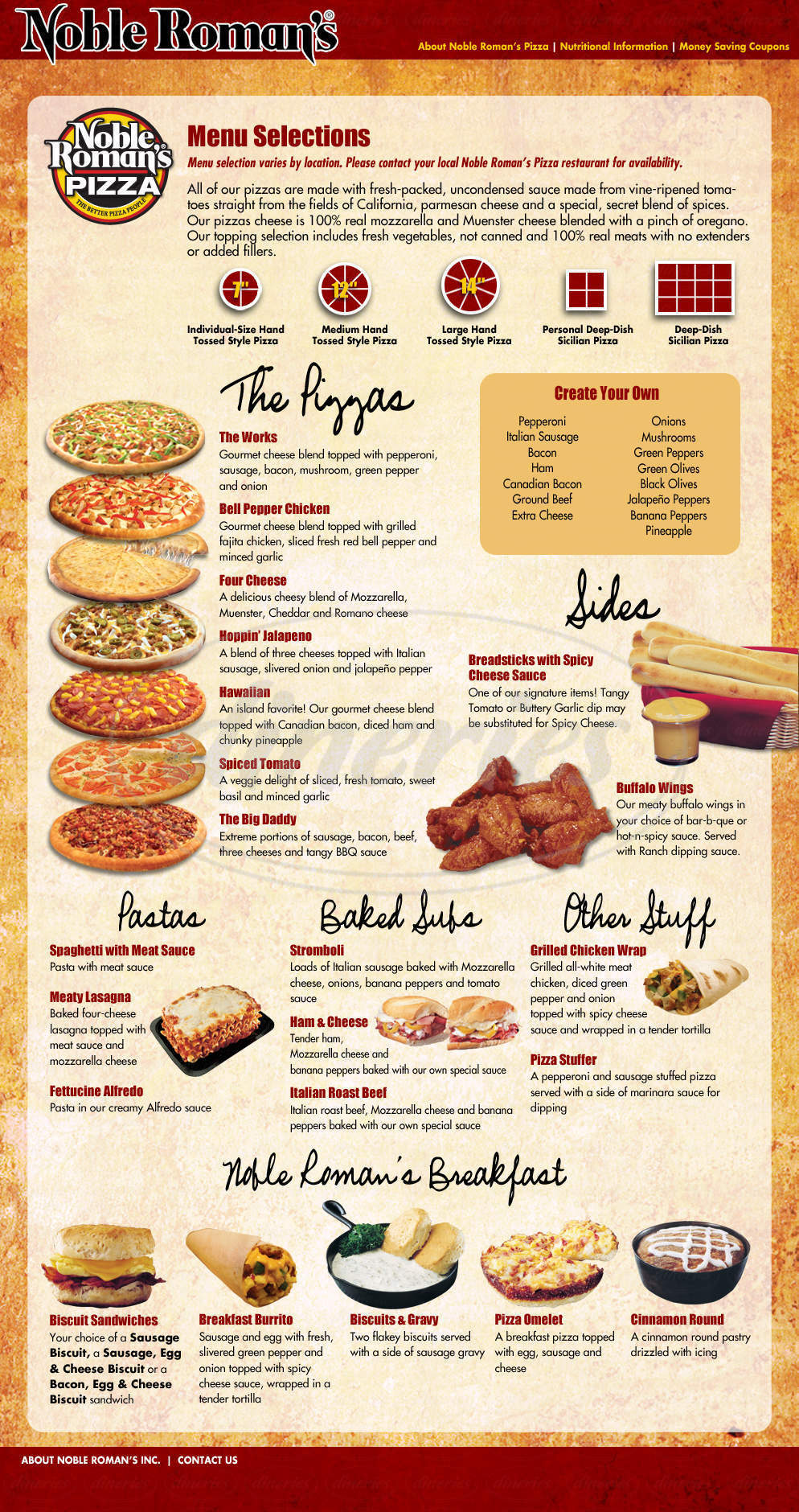 menu for Noble Romans Pizza