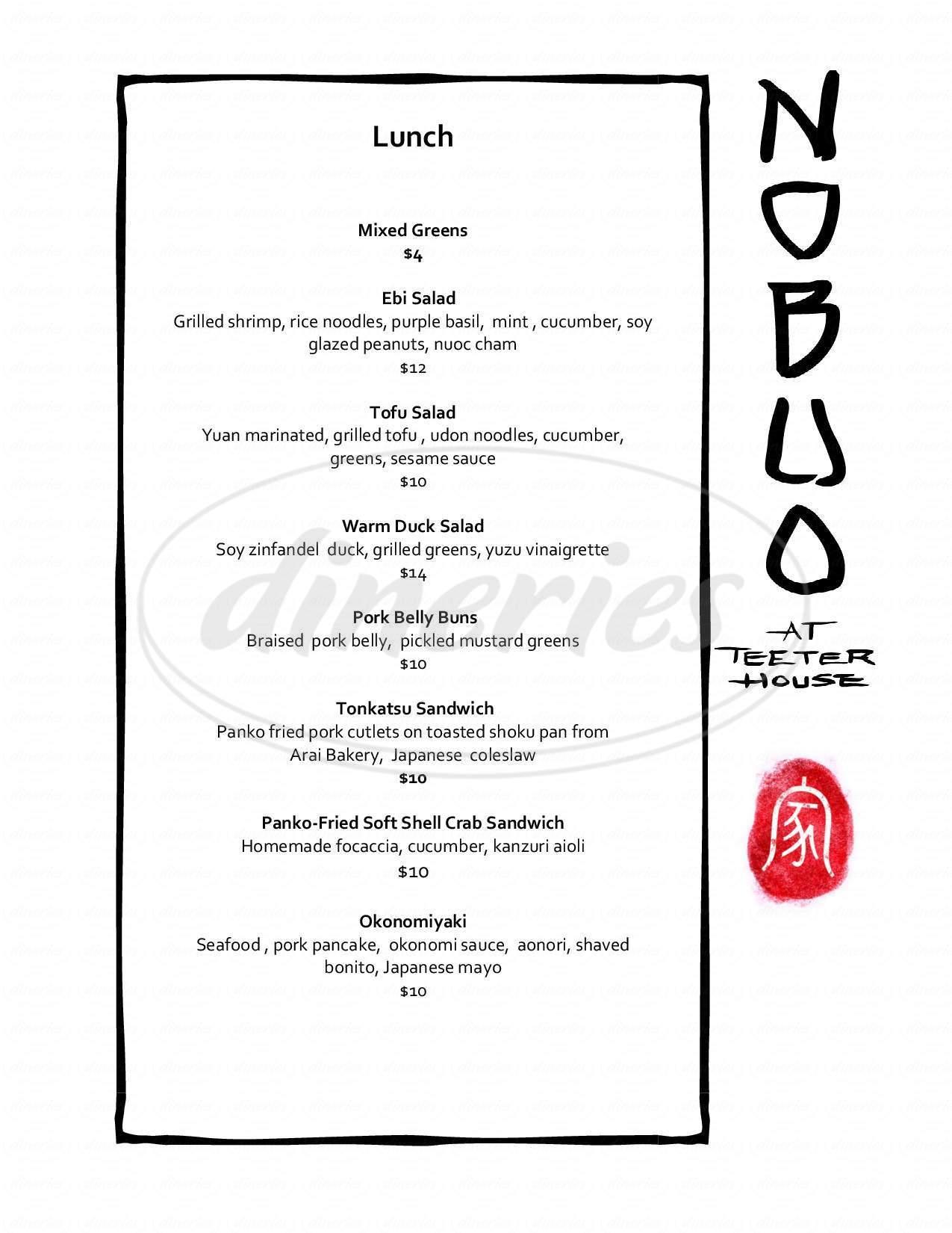 menu for Nobuo At Teeter House