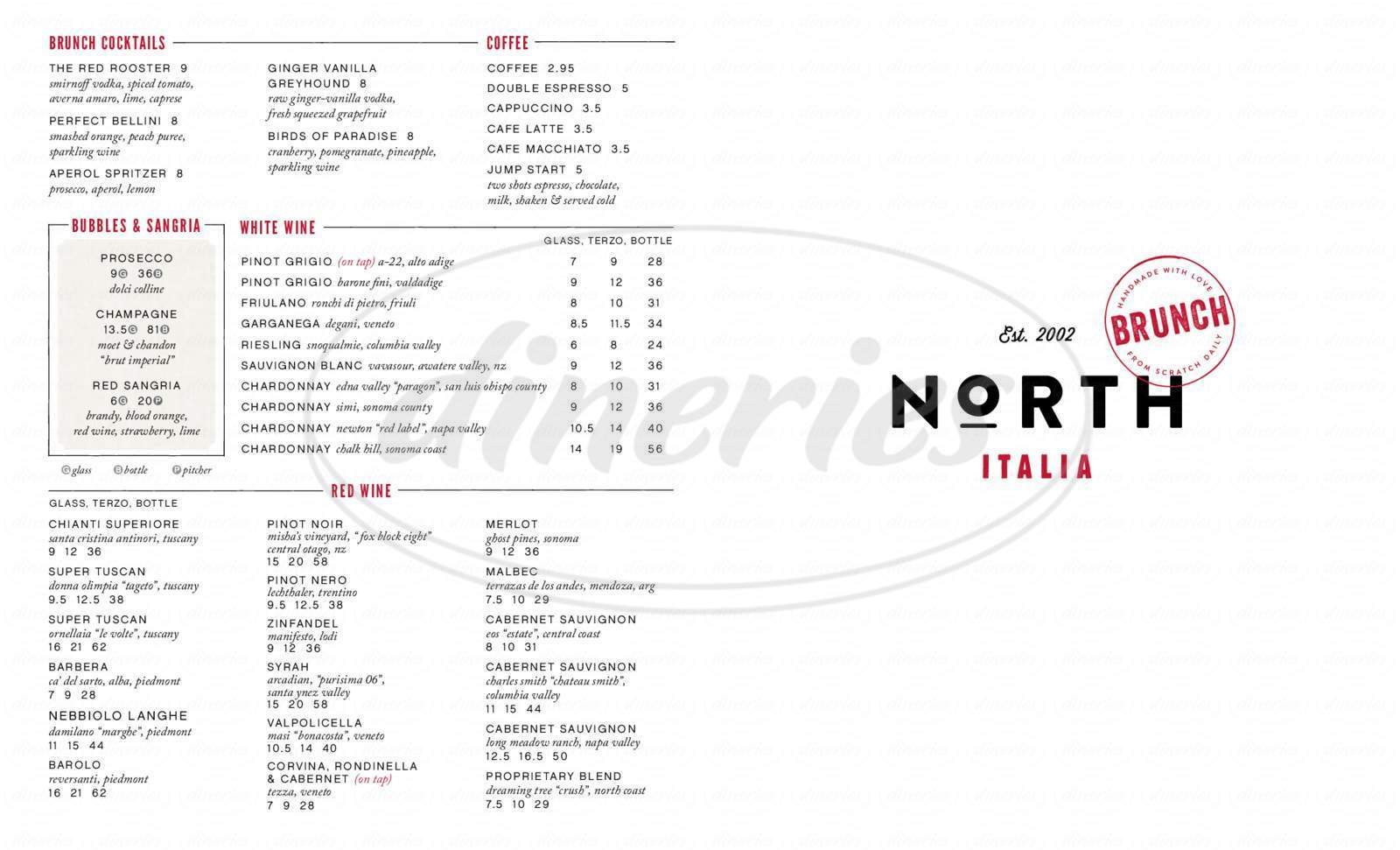 menu for North Italia