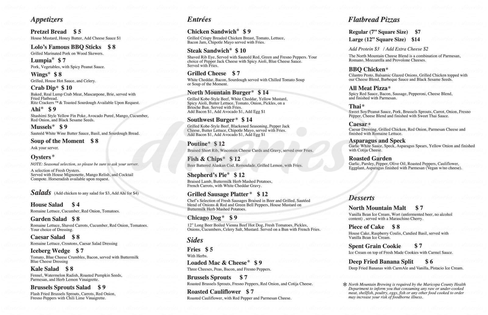 menu for North Mountain Brewing Co.