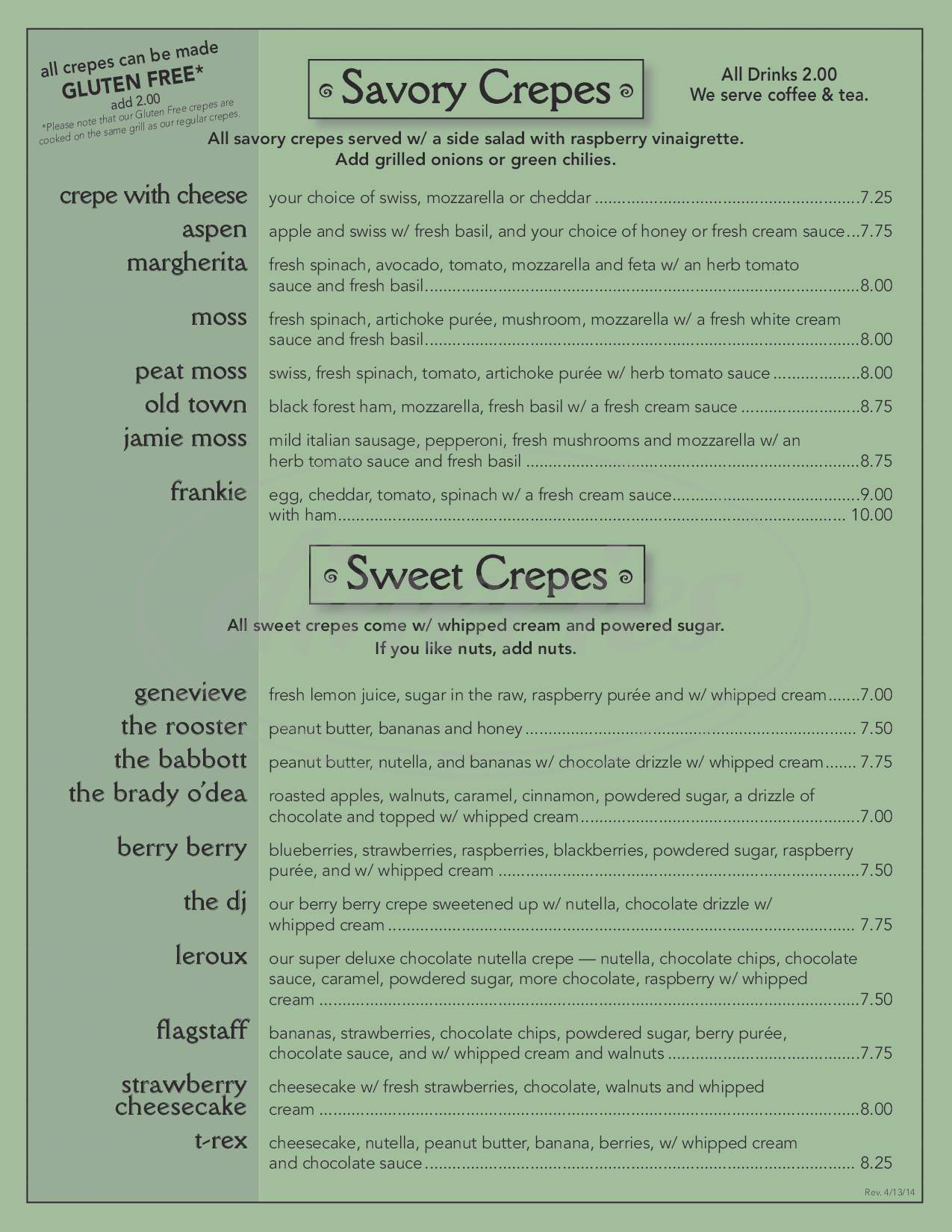 menu for Old Towne Creperie