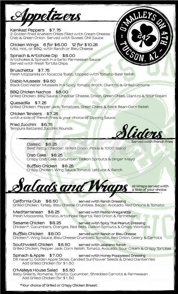 menu for O'Malleys On Fourth