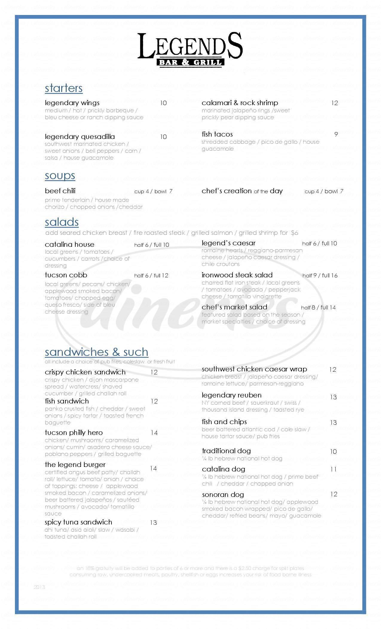menu for Omni Tucson National Resort