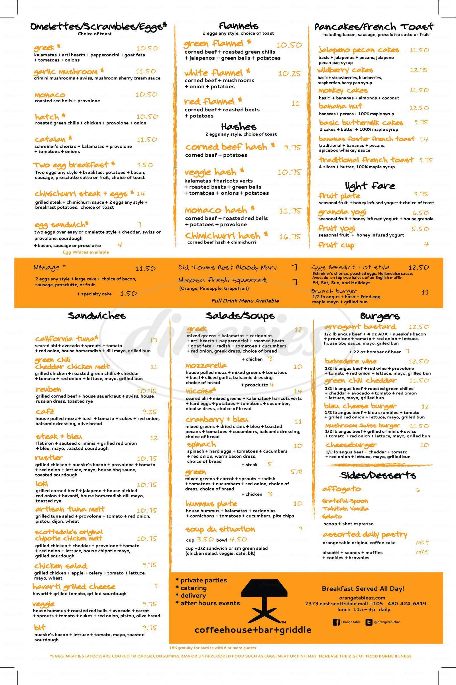 menu for Orange Table