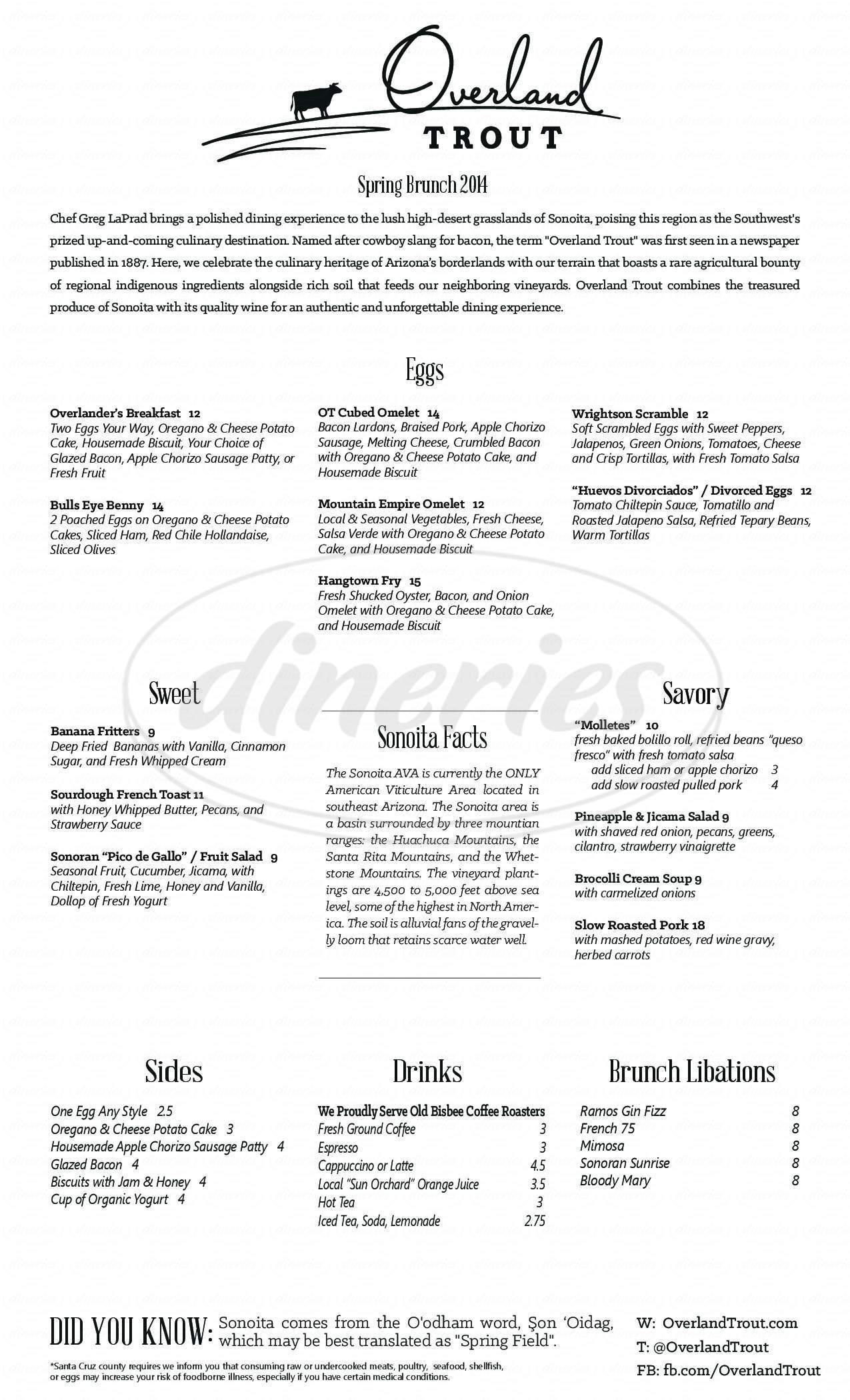 menu for Overland Trout