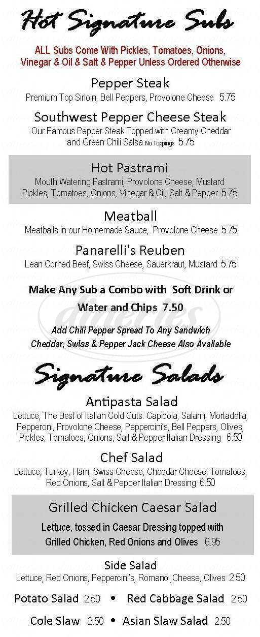 menu for Panarelli's Italian Subs