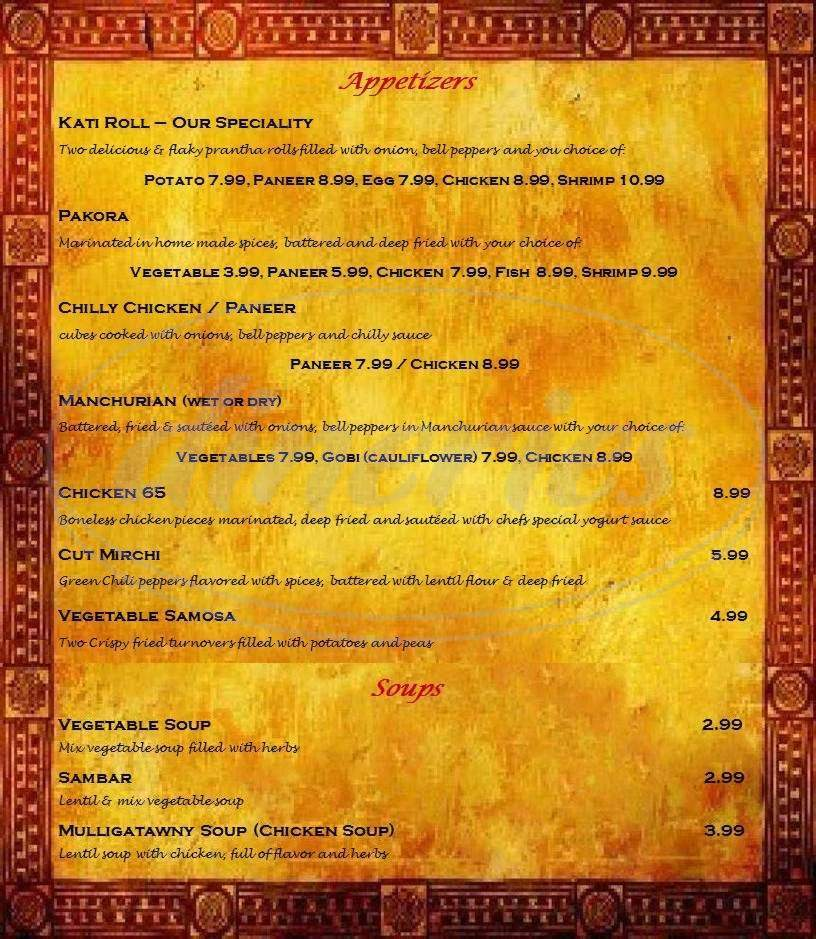 menu for Passage To India