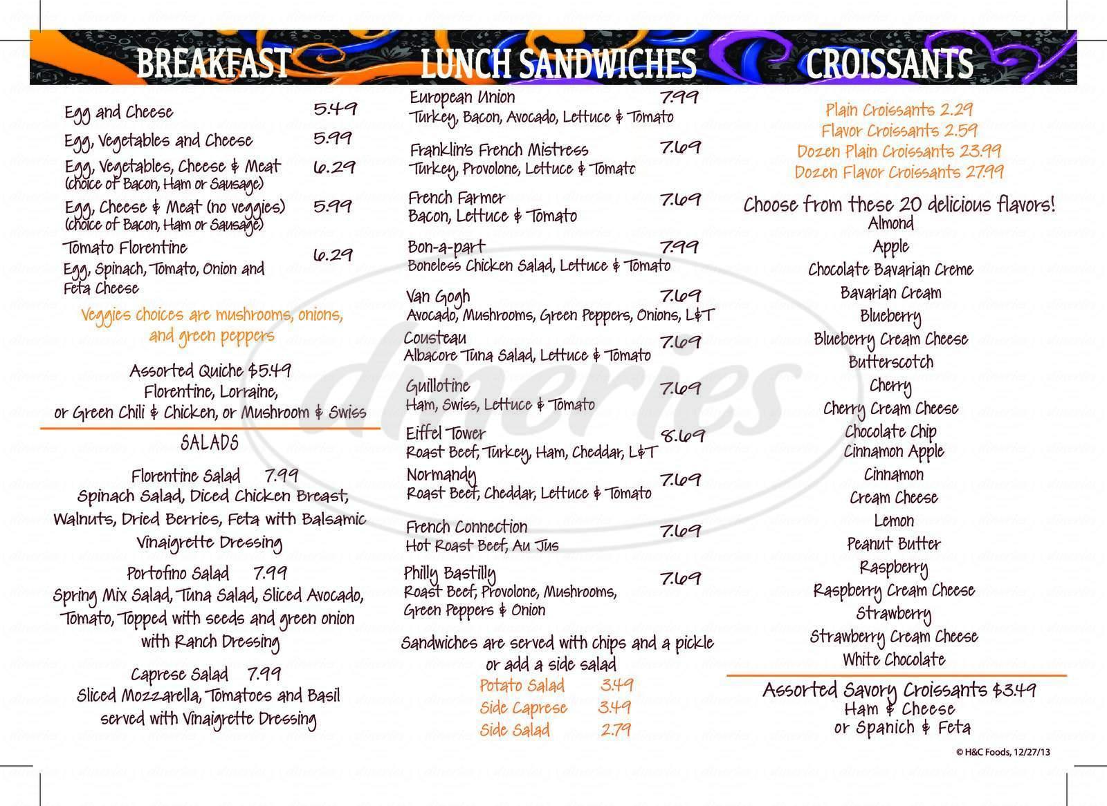 menu for P.croissants