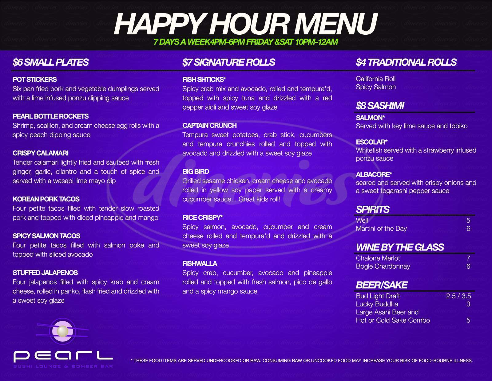menu for Pearl Sushi Lounge & Bomber Bar